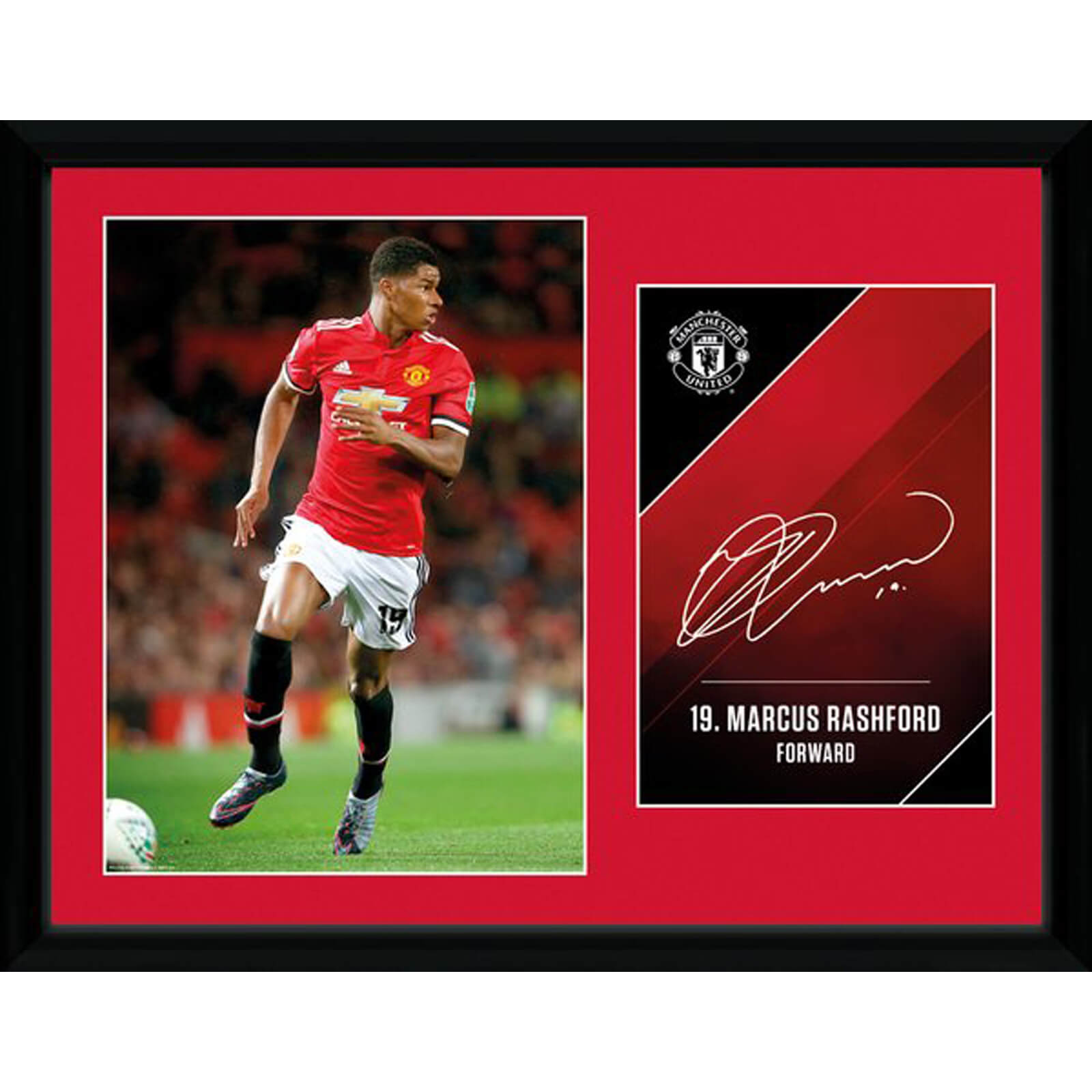 Manchester United Rashford 17/18 12 x 16 Inches Framed Photograph