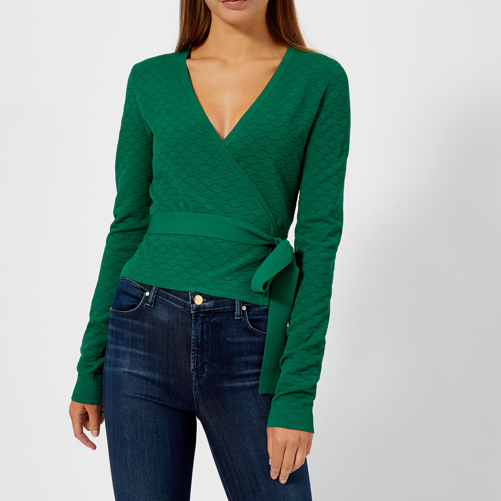 5c6a7eb2bf23 Diane von Furstenberg Women s Long Sleeve Wrap Sweater - Pine - Free UK  Delivery over £50