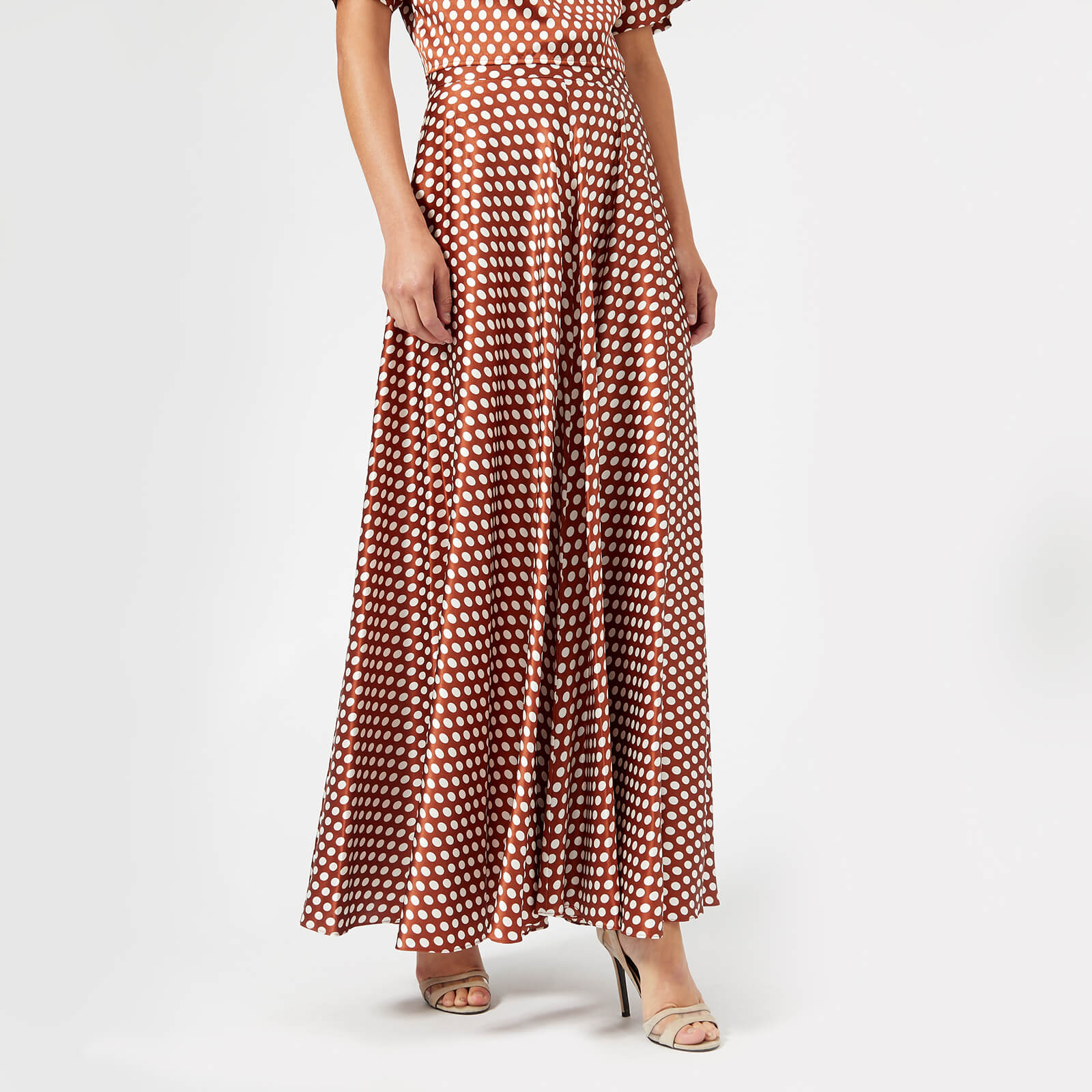 0bef29f51fdc43 Diane von Furstenberg Women s High Waisted Draped Maxi Skirt - Baker Dot  Small Sienna - Free UK Delivery over £50