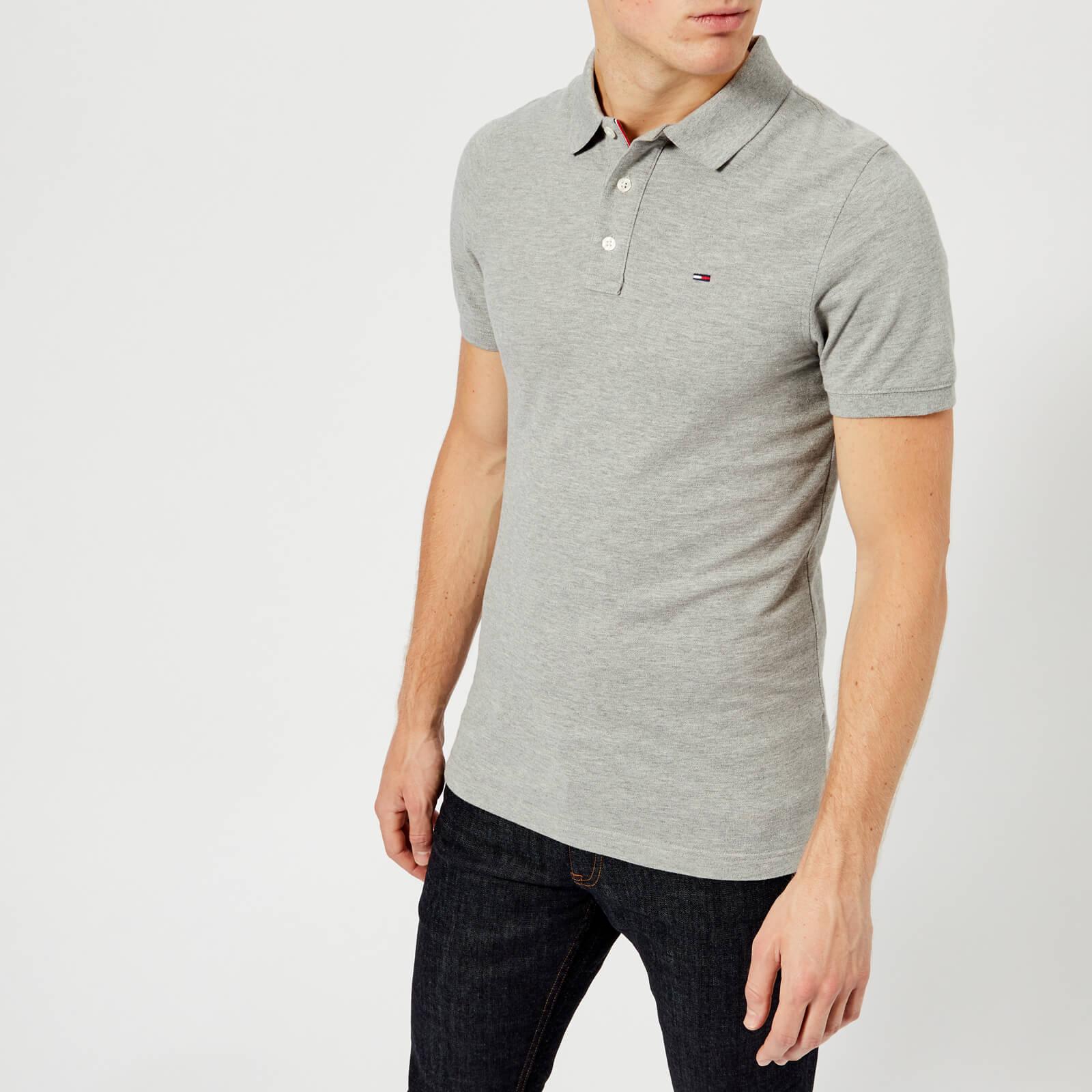 ab8a7460 Tommy Jeans Men's Original Fine Pique Polo Shirt - Light Grey Heather  Clothing   TheHut.com