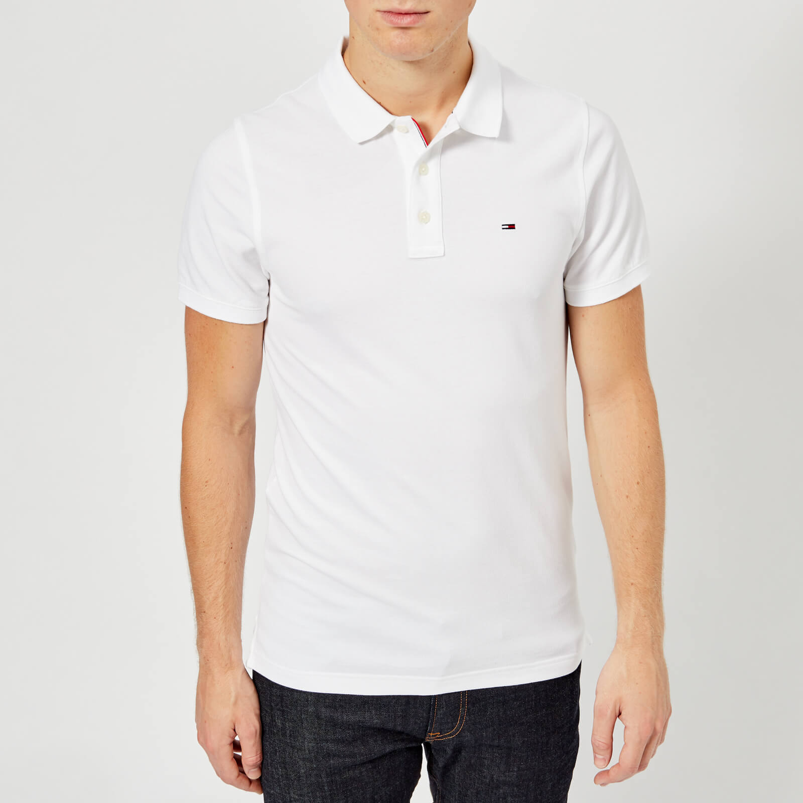 57fa7878f872 Tommy Jeans Men's Original Fine Pique Polo Shirt - Classic White Clothing |  TheHut.com