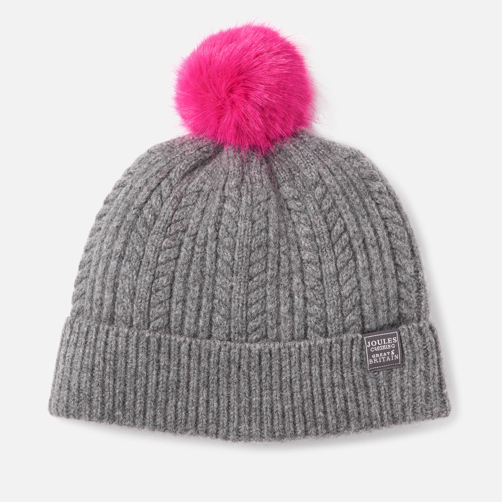 f1c27e7bfc5 Joules Women s Bobble Hat Fine Cable with Faux Fur Pom - Dark Grey Womens  Accessories