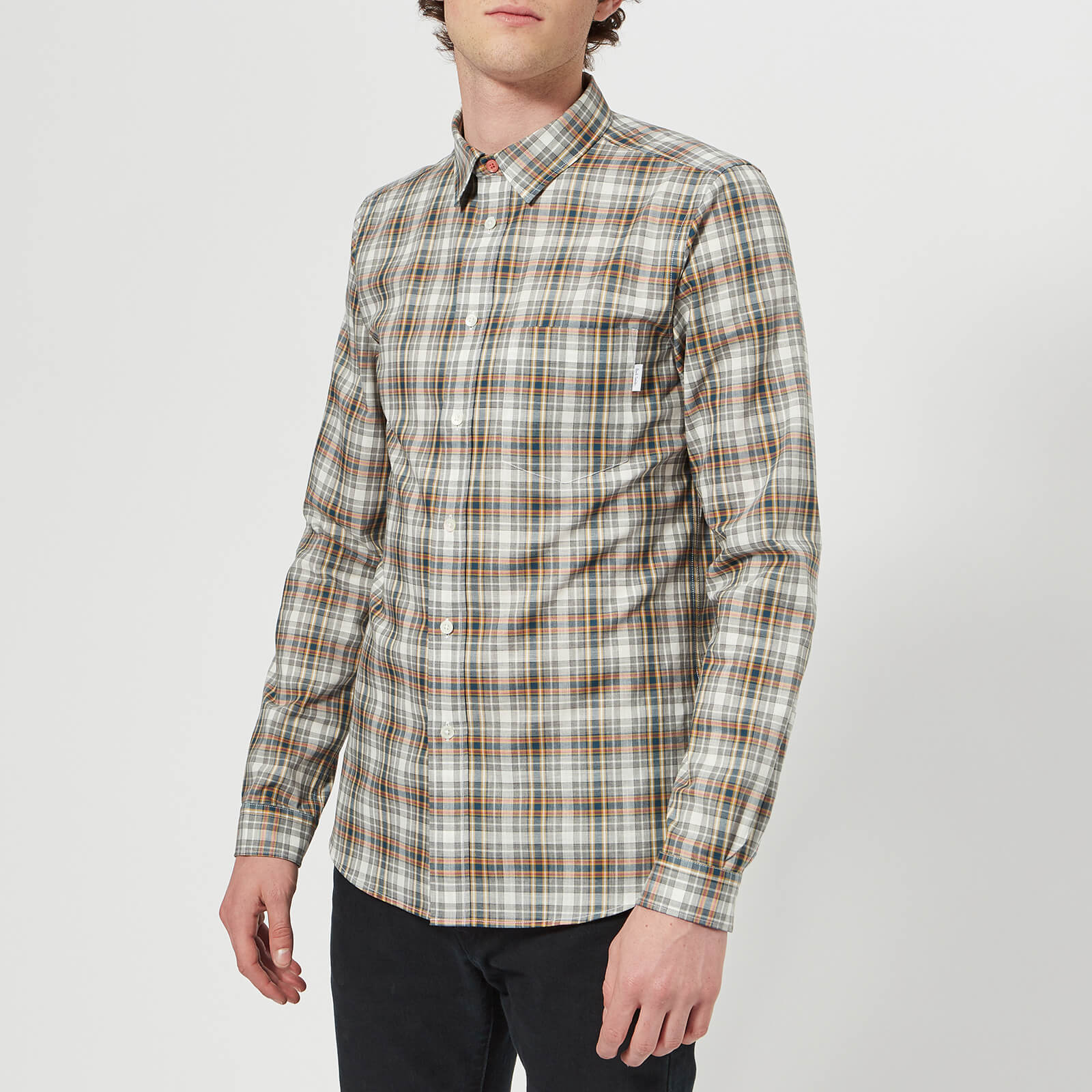 be6c541e5ef4d9 PS Paul Smith Men's Slim Fit Long Sleeve Check Shirt - Grey Melange - Free  UK Delivery over £50