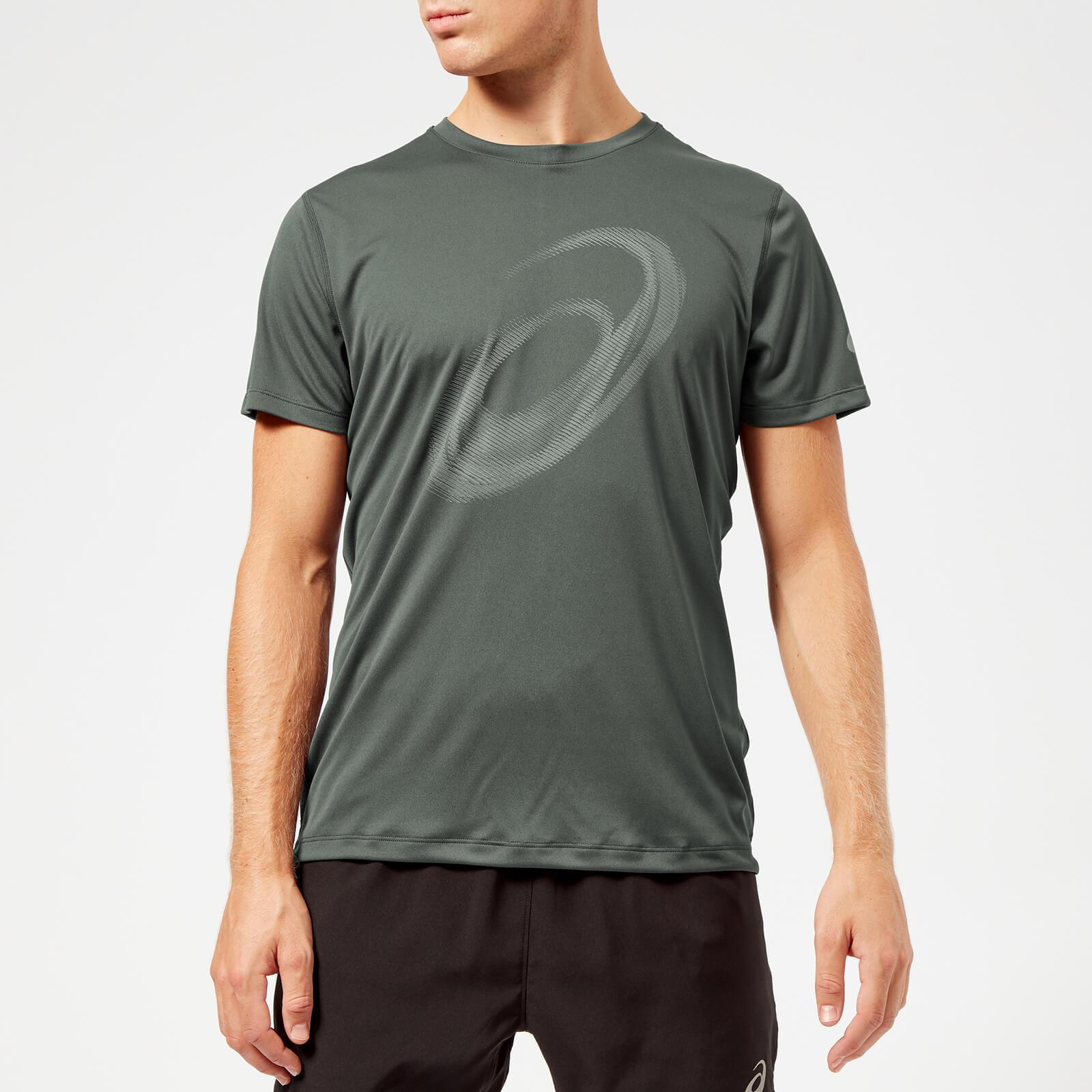 09799727 Asics Men's Silver Short Sleeve Graphic Top - Dark Grey