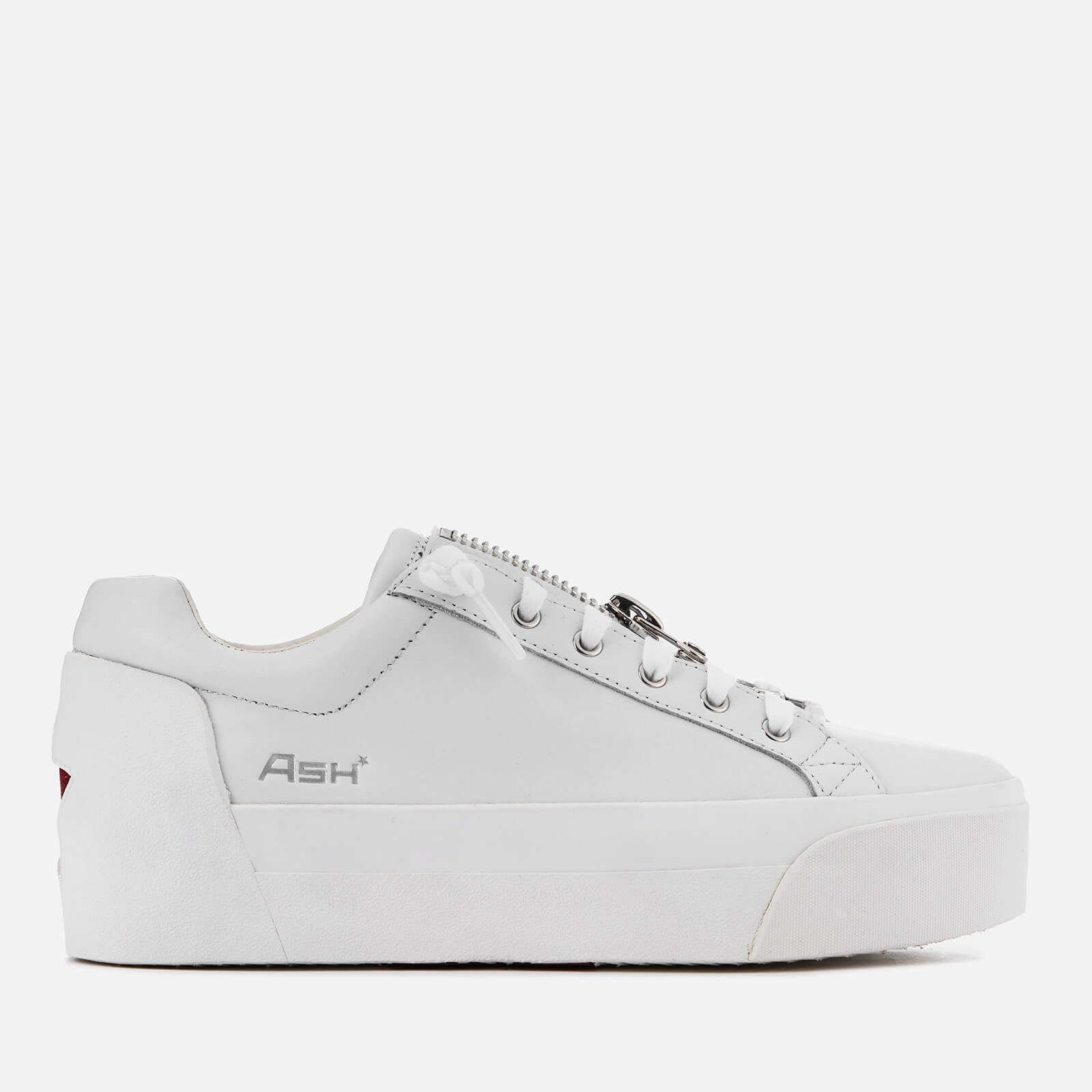 d91e0fcf464 Ash Women s Buzz Leather Flatform Trainers - White Red - Free UK Delivery  over £50