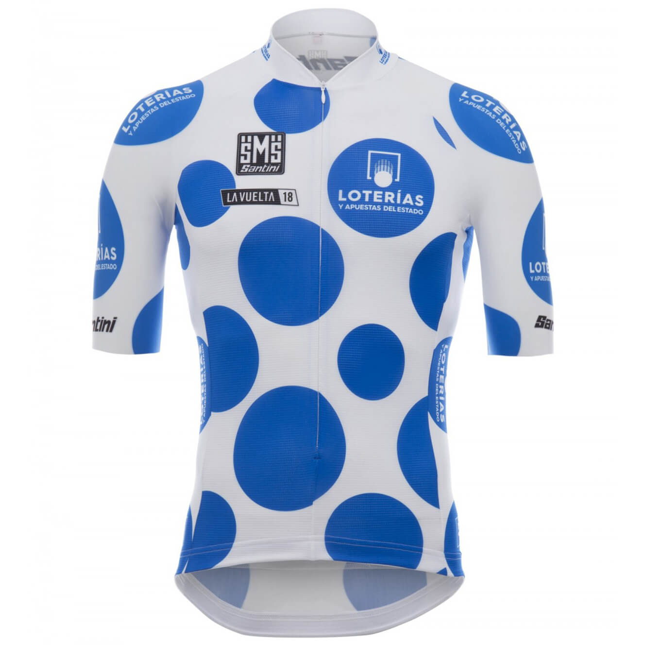 Santini La Vuelta 2018 King of the Mountain Jersey - White/Blue