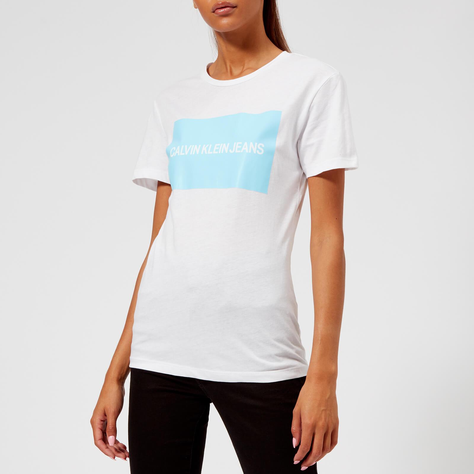 8b209ea977d4 Calvin Klein Jeans Women's Institutional Box Logo T-Shirt - Bright  White/Sky Blue Womens Clothing | TheHut.com