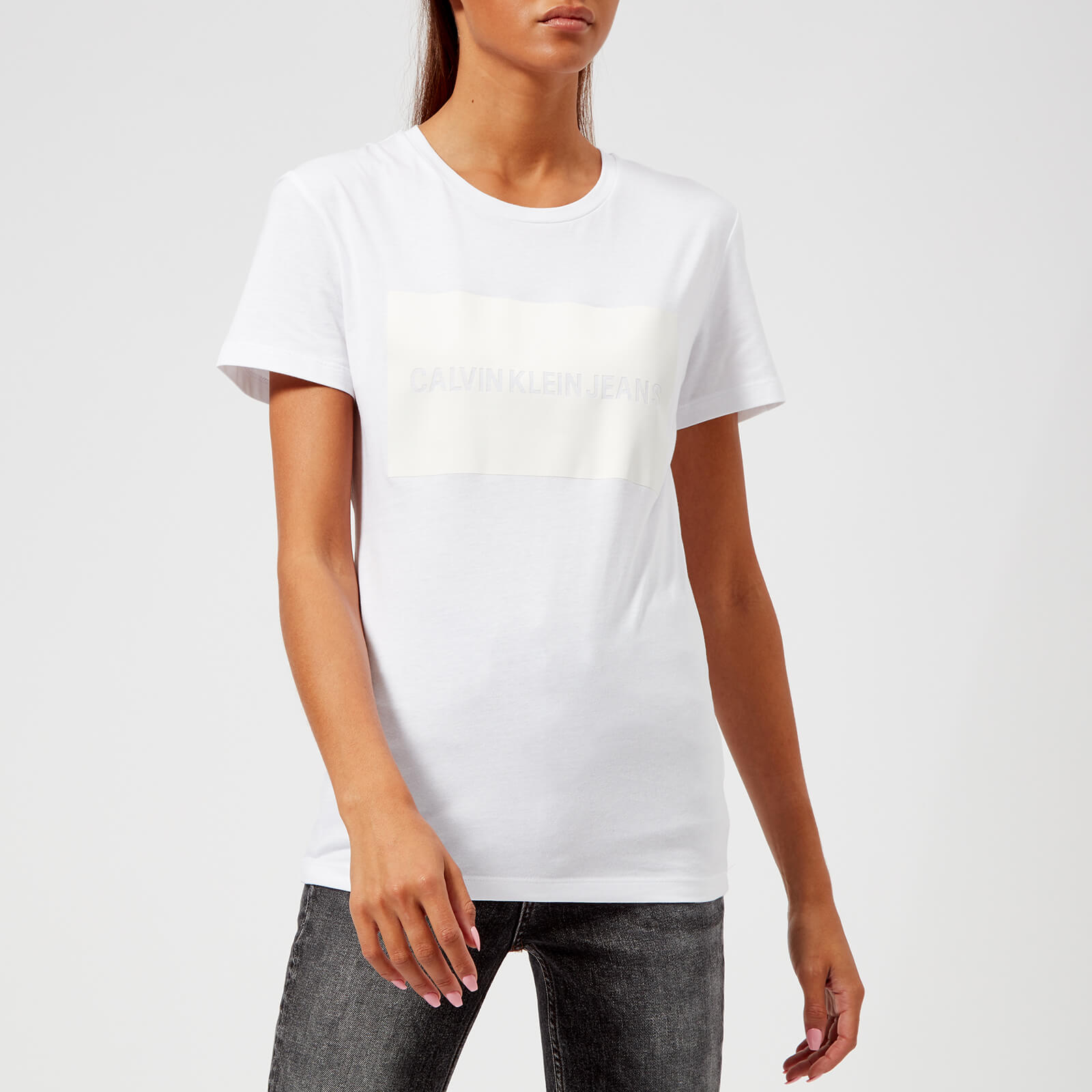 1bcface09 Calvin Klein Jeans Women's Institutional Satin Box Logo T-Shirt - Bright  White Womens Clothing | TheHut.com