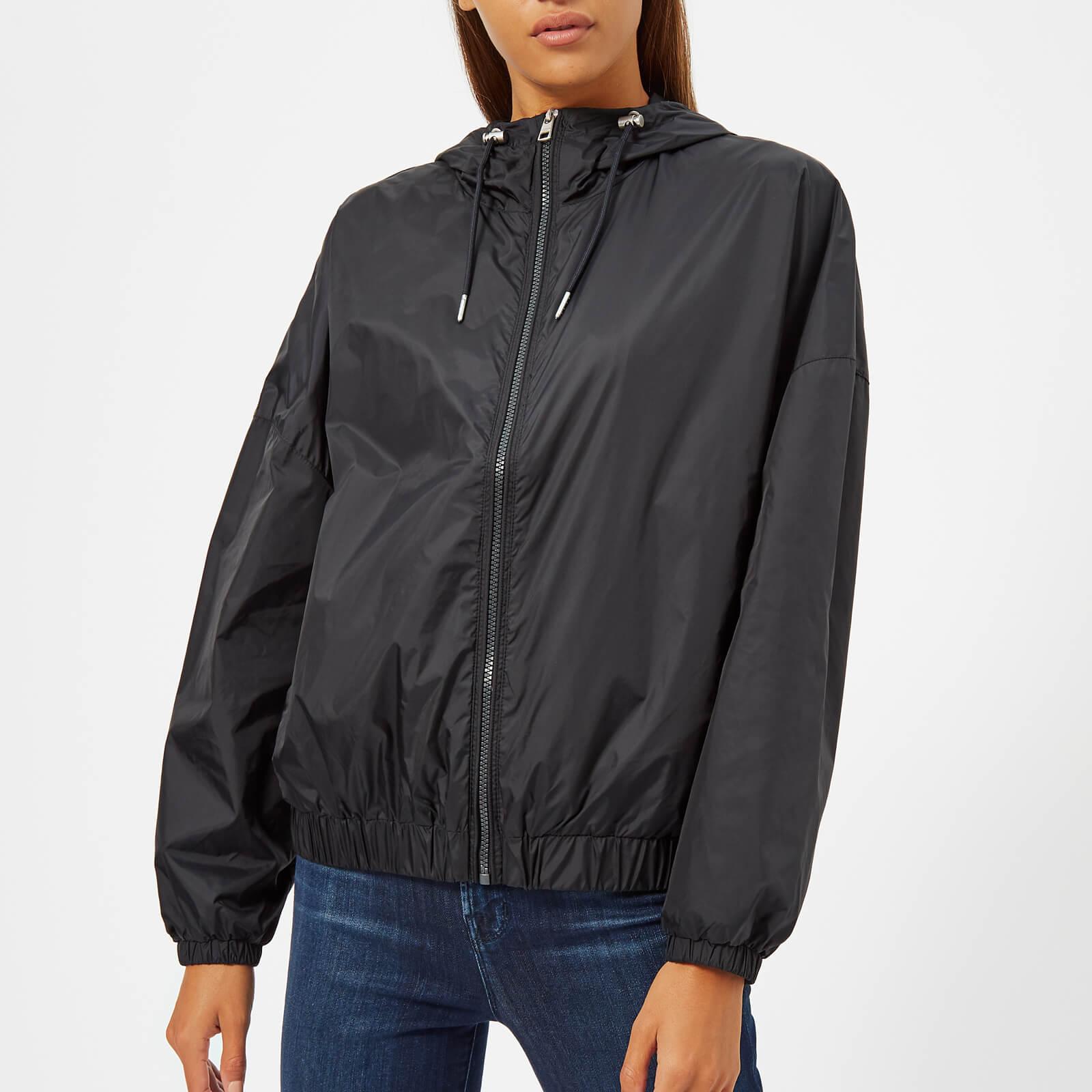 64ed478307d Calvin Klein Jeans Women s Hooded Zip Up Windbreaker Jacket - CK Black  Womens Clothing