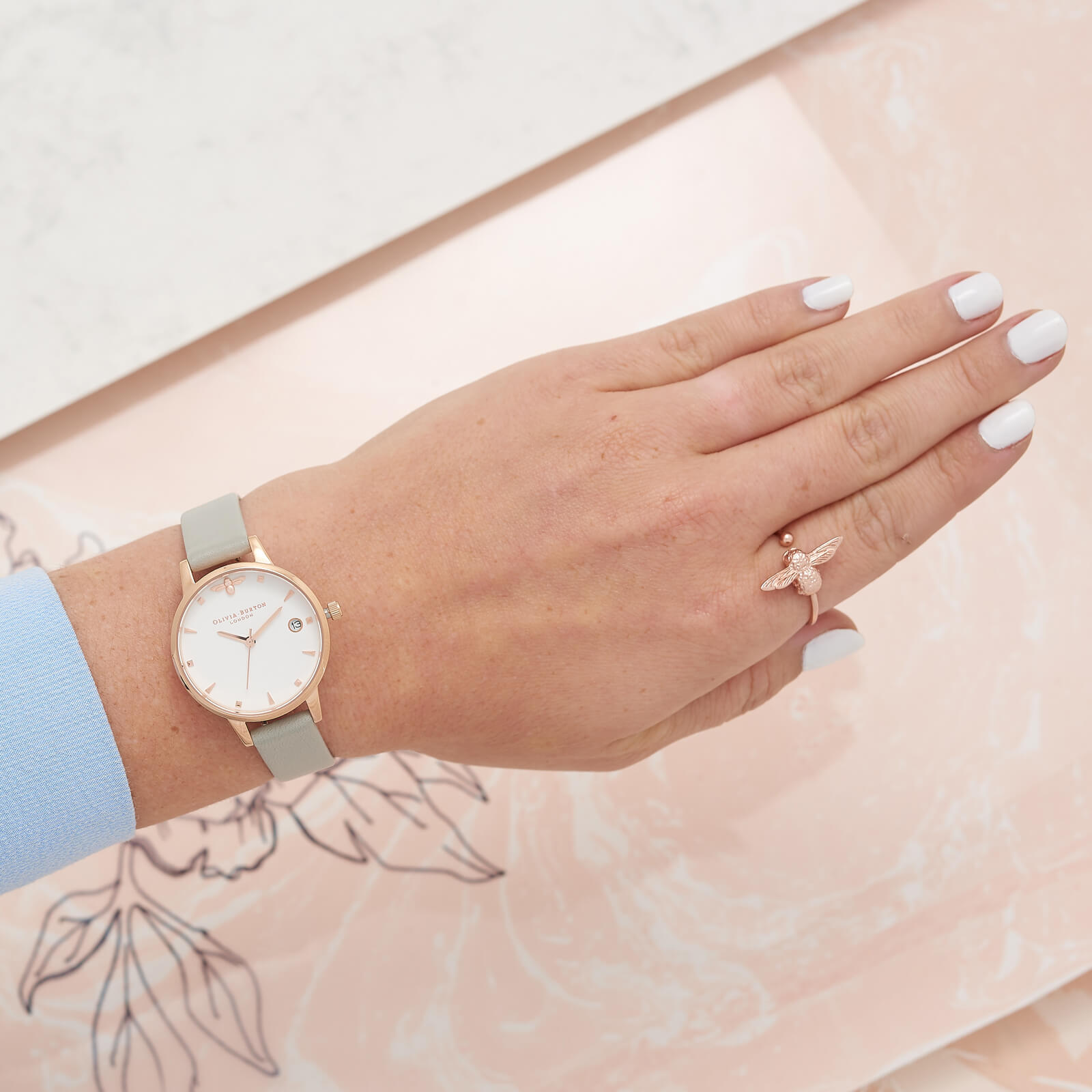 Olivia Burton Women's 3D Bee Ring - Rose Gold