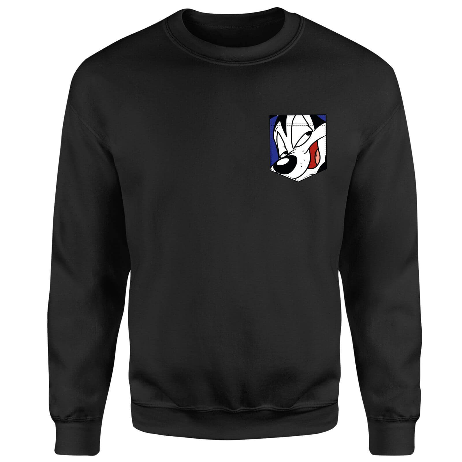 Looney Tunes Pepe Le Pew Face Faux Pocket Sweatshirt - Black