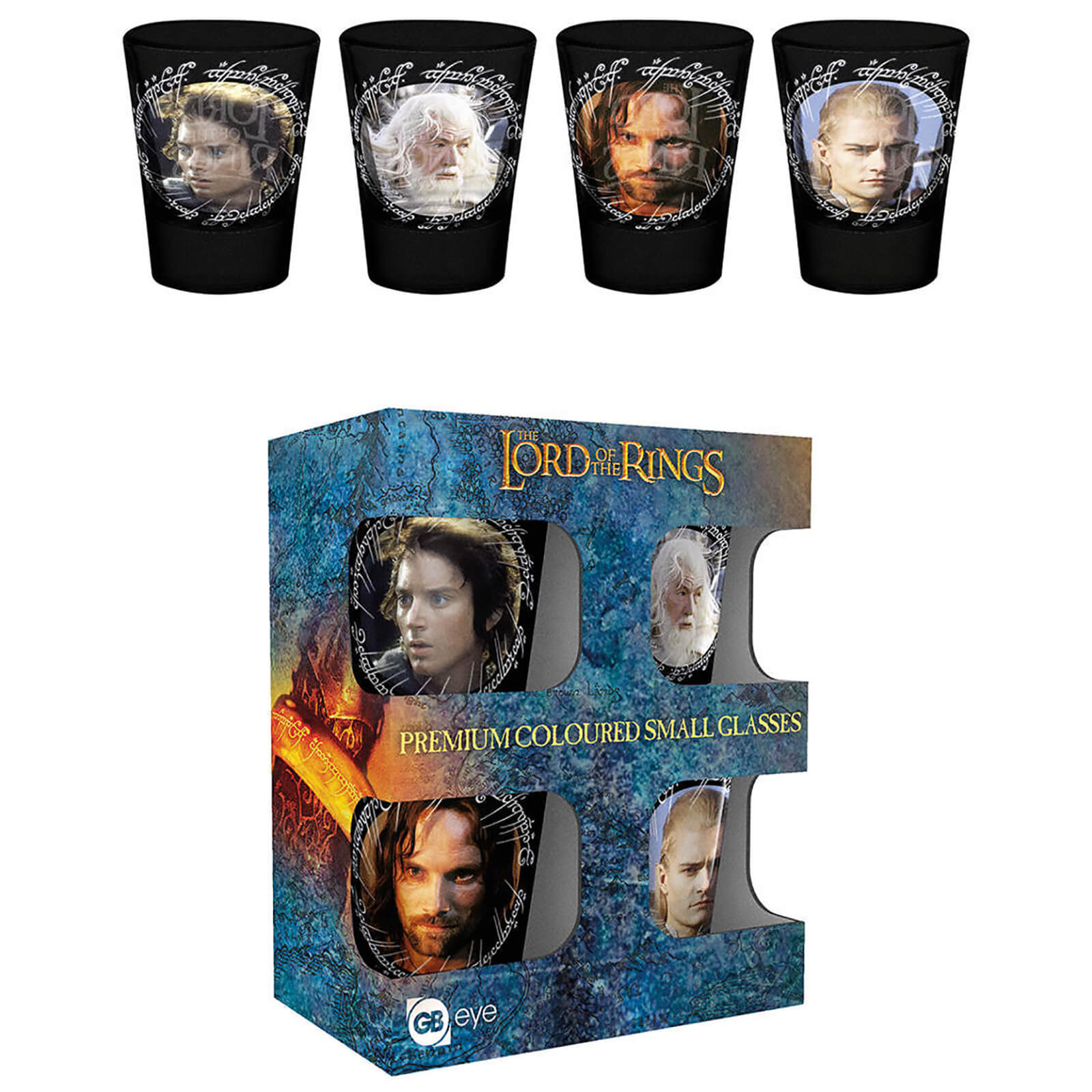 Lord Of The Rings Characters Coloured Shot Glasses
