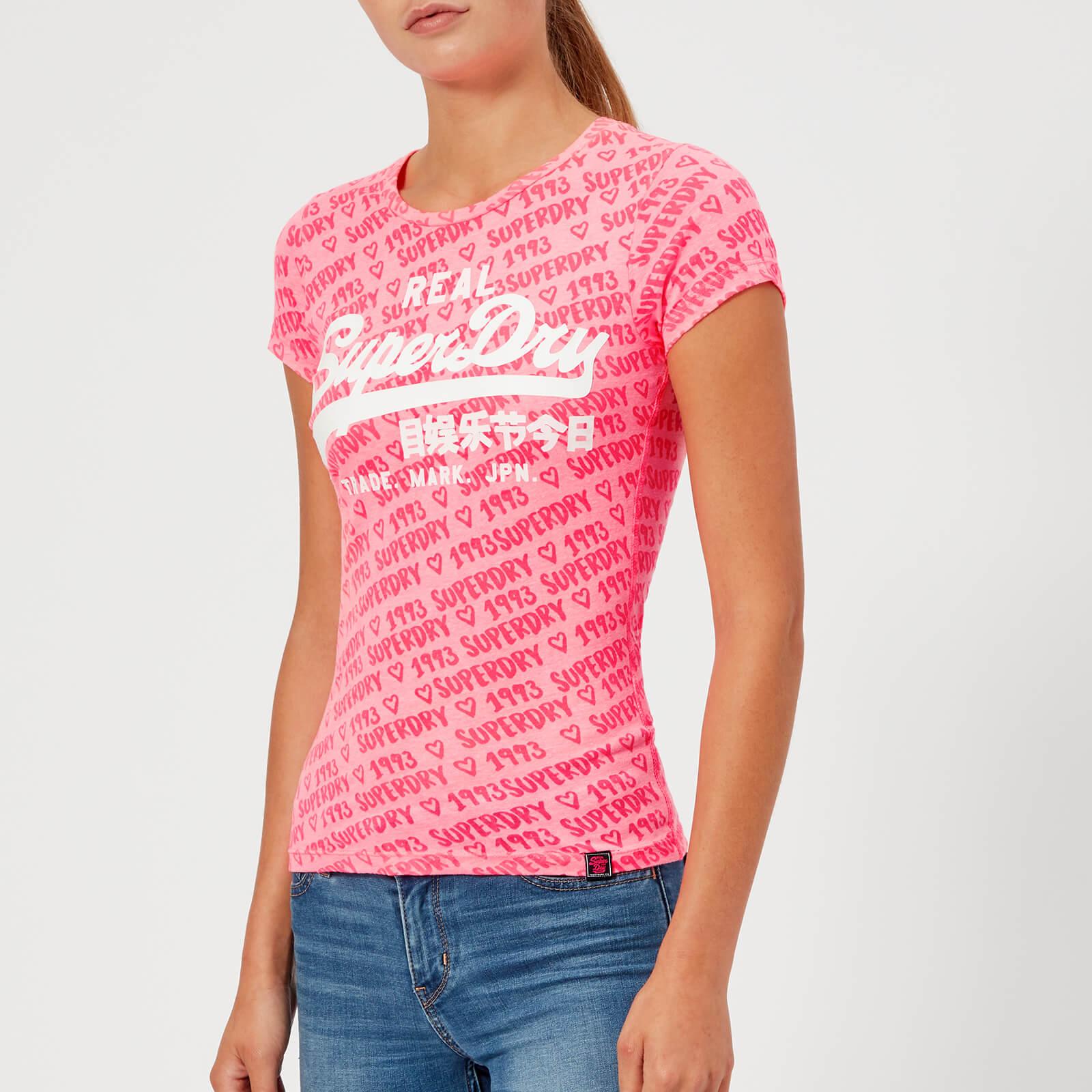 43588ed8 Superdry Women's Vintage Logo Aop Burnout Entry T-Shirt - Fluro Pink Womens  Clothing | TheHut.com