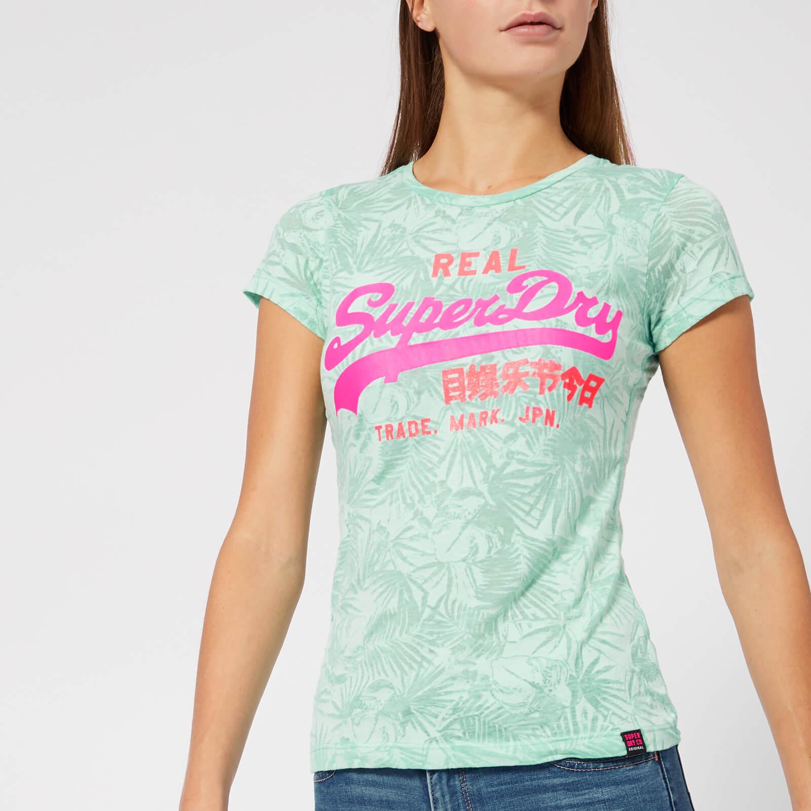 88c4987a Superdry Women's Vintage Logo Aop Burnout Entry T-Shirt - Burnout Mint  Womens Clothing | TheHut.com