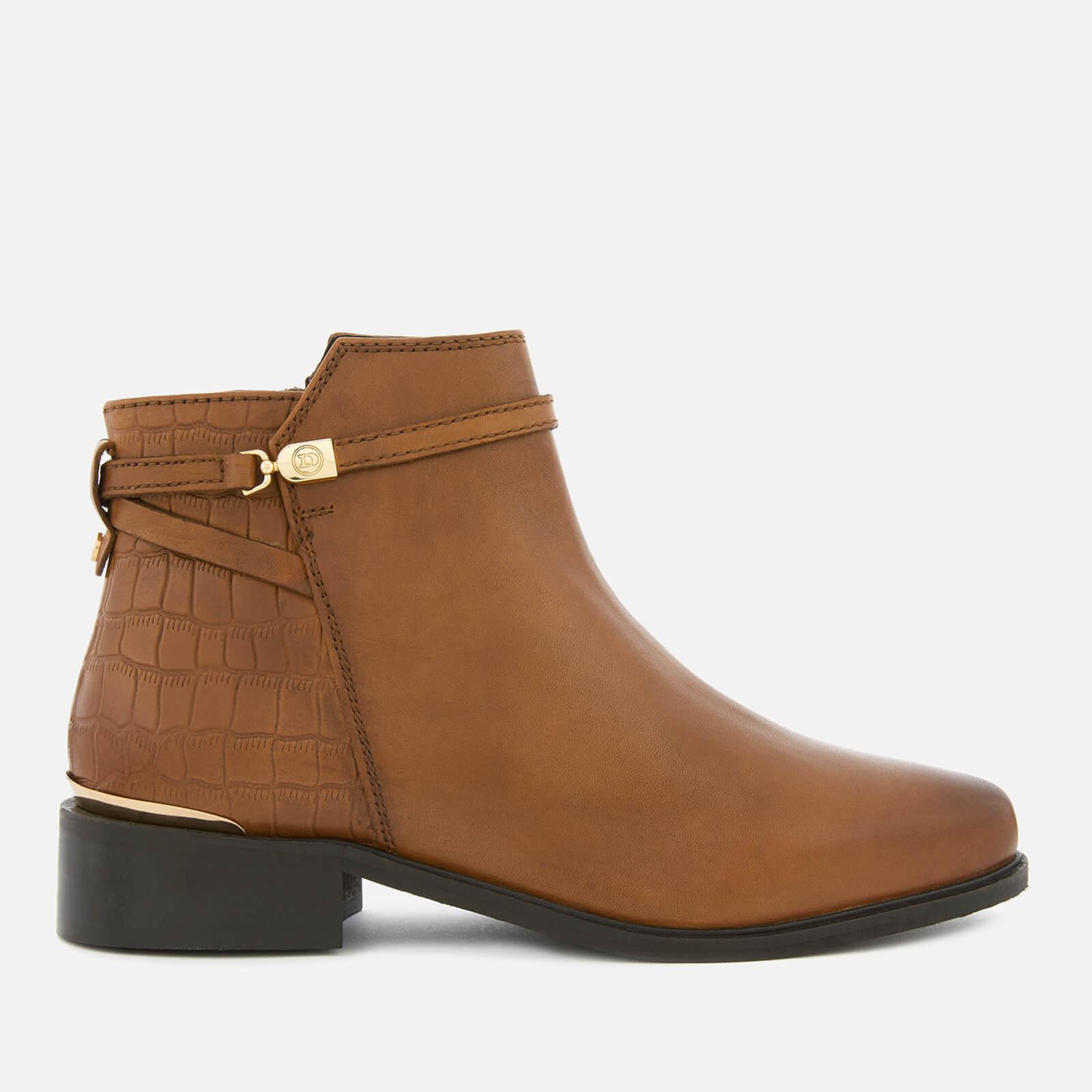 Dune Women S Peppey Leather Flat Ankle Boots Tan Womens Footwear