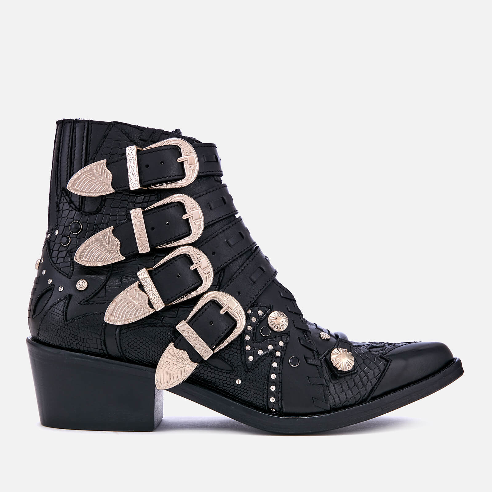 93edb0e170 Toga Pulla Women's Buckle Leather Heeled Ankle Boots - Black - Free UK  Delivery over £50