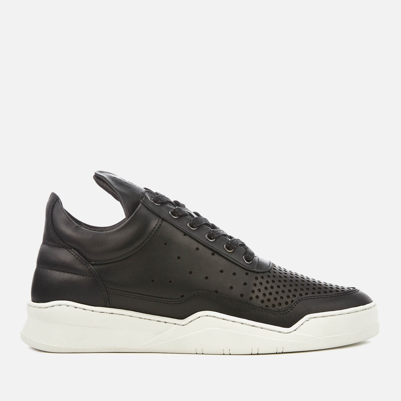 cdbc88b43eb1 Filling Pieces Men s Gradient Perforated Leather Low Top Trainers -  Black White - Free UK Delivery over £50