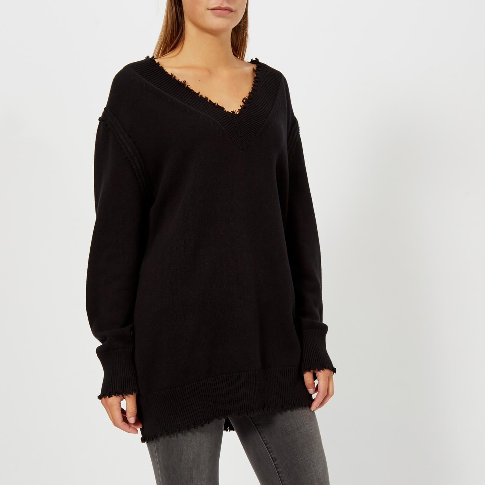 1be17e419c5 T by Alexander Wang Women s Raw Edge V-Neck Sweatshirt - Black - Free UK  Delivery over £50