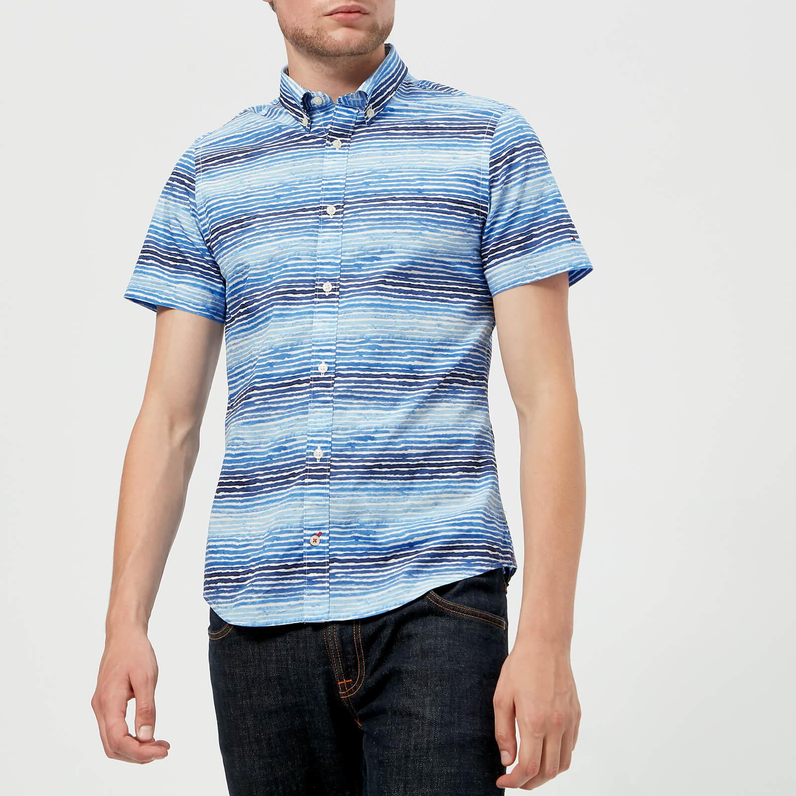 af627ef1a6 Tommy Hilfiger Men's Watercolour Stripe Short Sleeve Shirt - Maritime Blue
