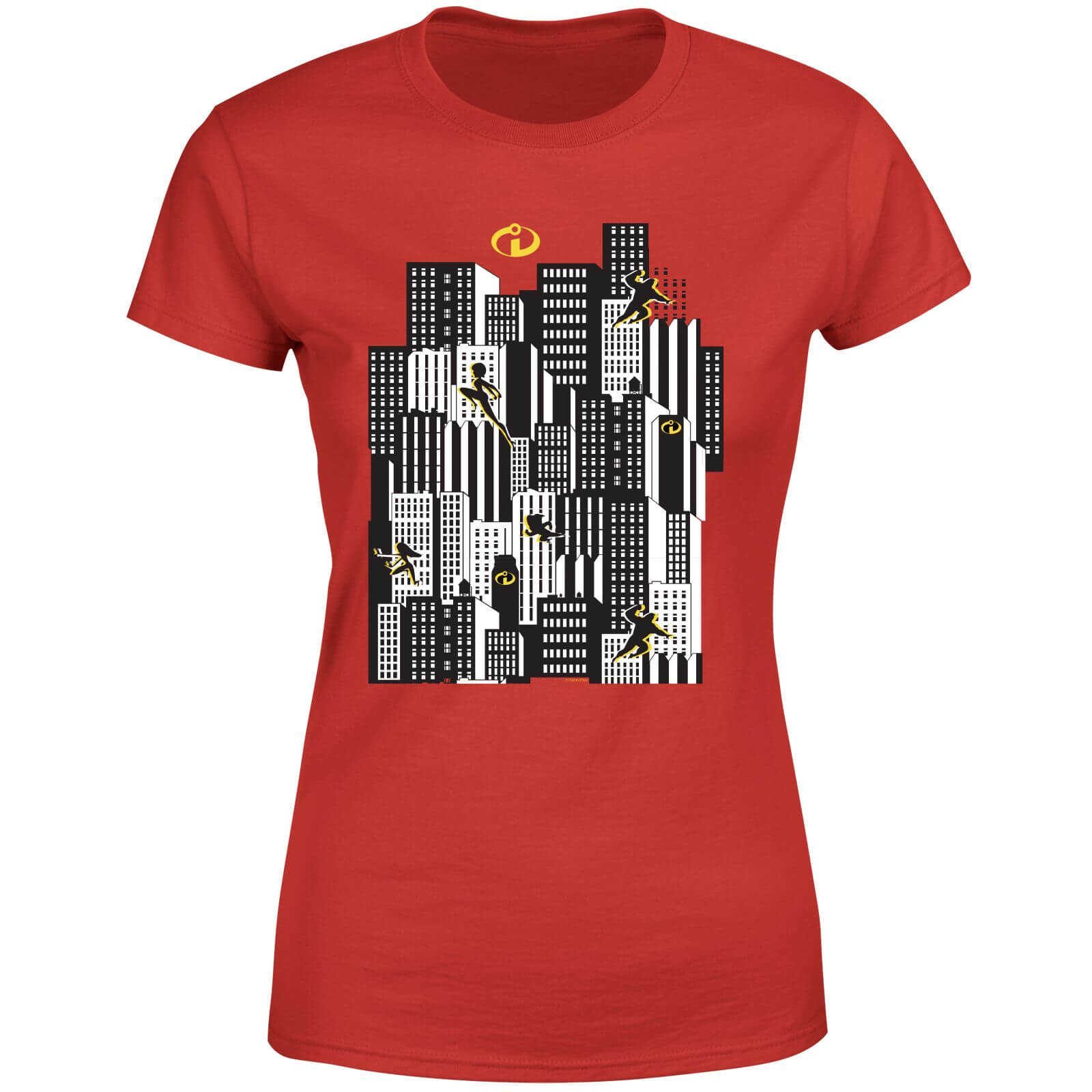 c09590f0 The Incredibles 2 Skyline Women's T-Shirt - Red Clothing | Zavvi
