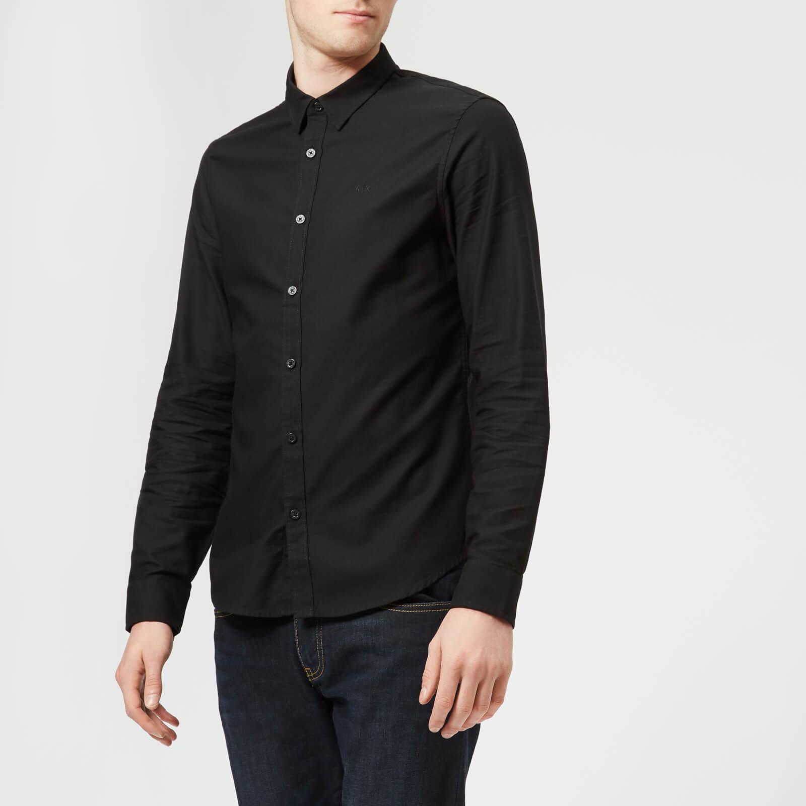 Bestseller einkaufen detaillierte Bilder attraktive Farbe Armani Exchange Men's Slim Textured Long Sleeve Shirt - Black