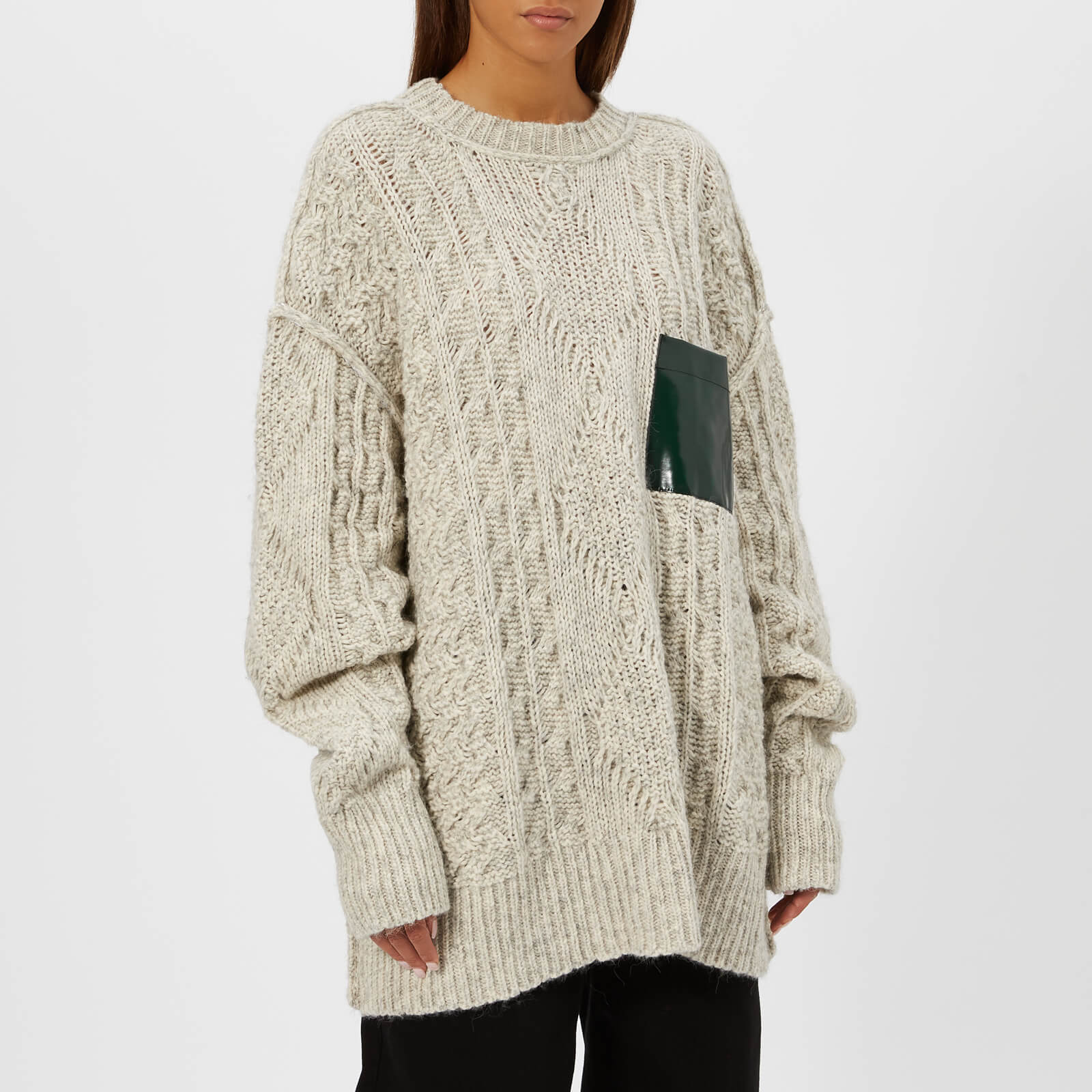 5934bea039b55e MM6 Maison Margiela Women's Gauge Oversized Cable Knitted Jumper with  Pocket - White - Free UK Delivery over £50