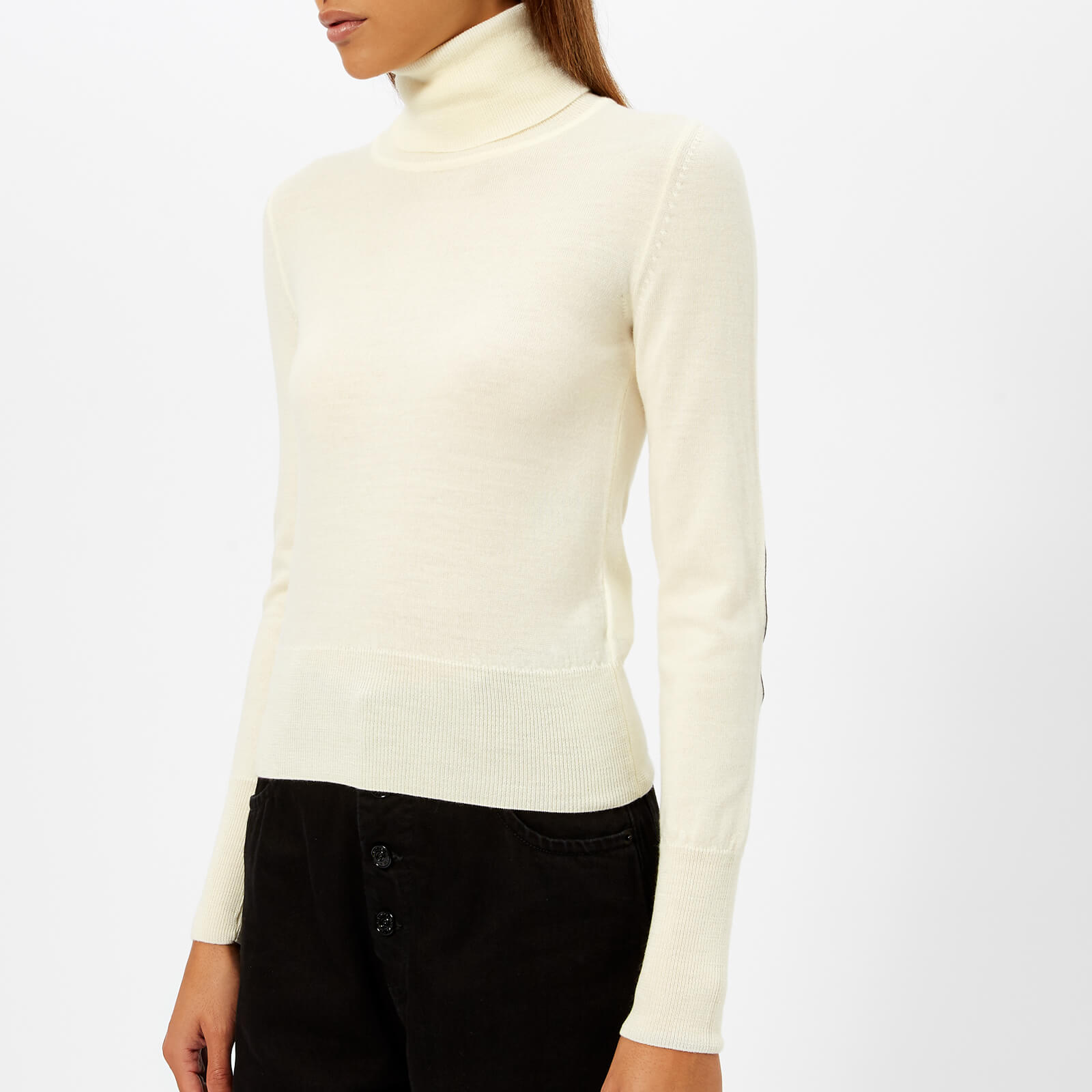 9108d19f95a634 MM6 Maison Margiela Women's High Neck Wool Jumper with Elbow Patches - Off  White - Free UK Delivery over £50
