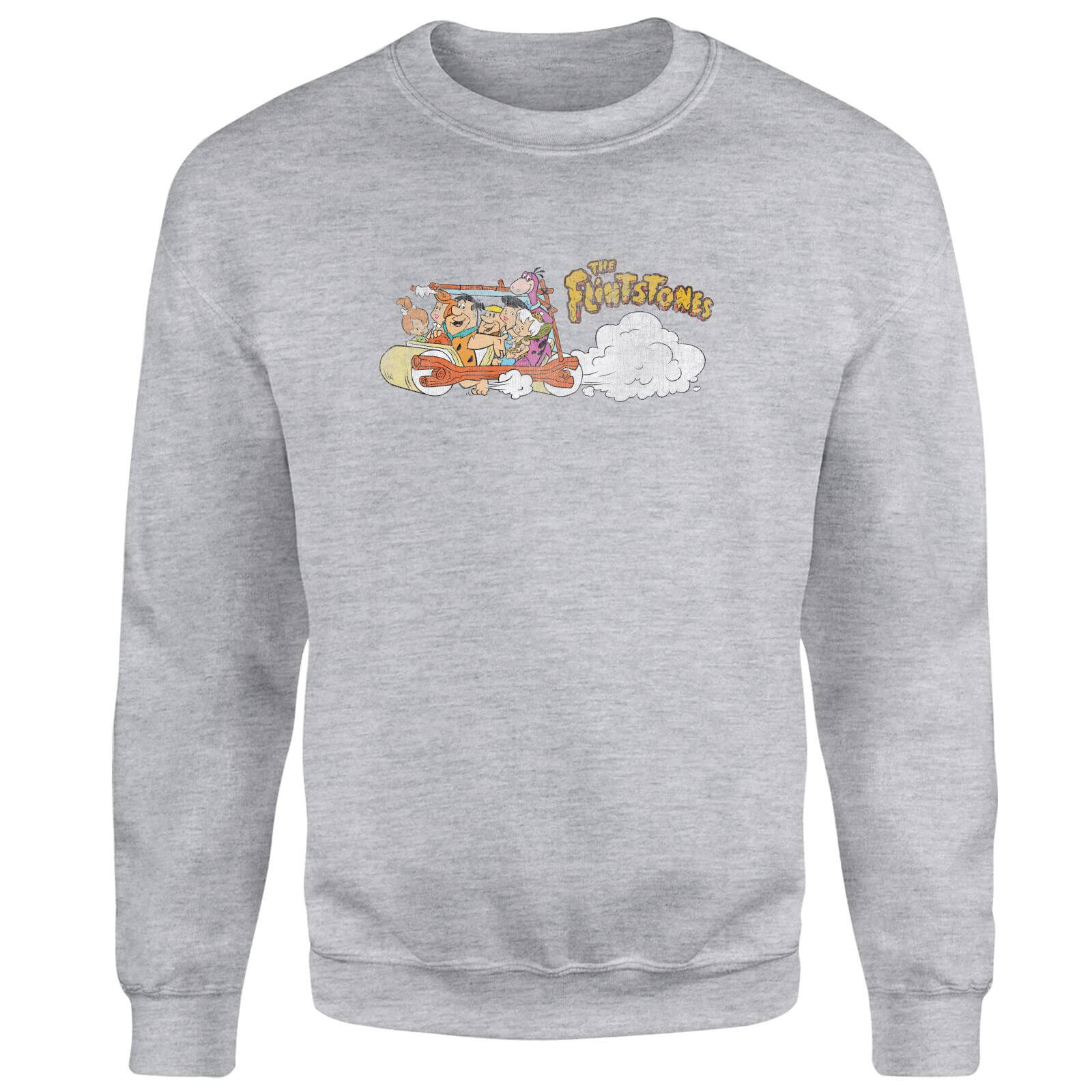 The Flintstones Family Car Distressed Sweatshirt - Grey