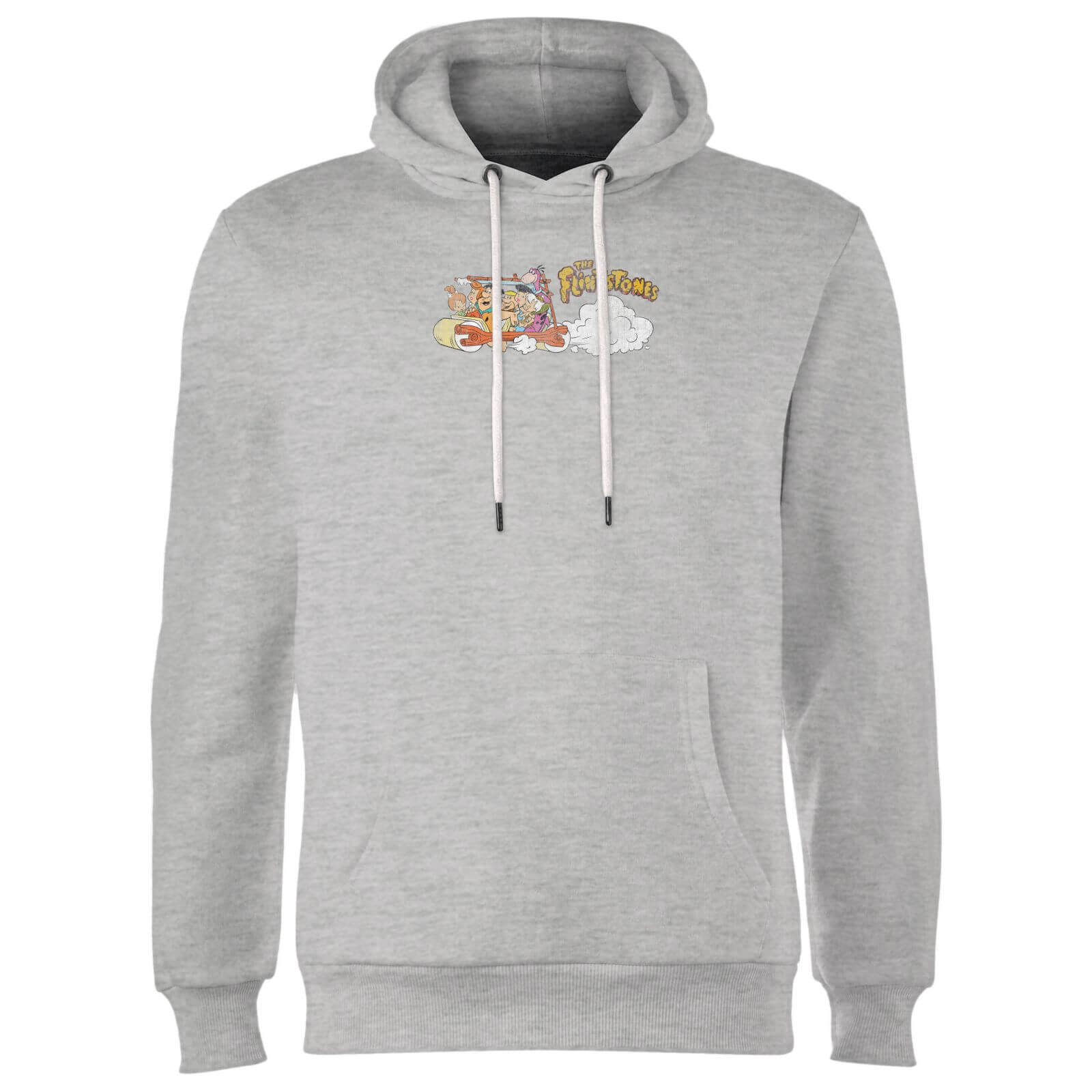 The Flintstones Family Car Distressed Hoodie - Grey