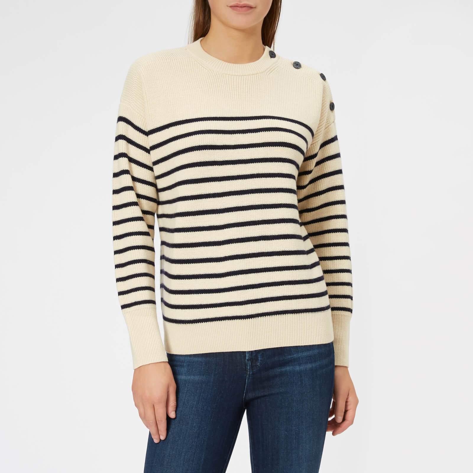 755d18564 Polo Ralph Lauren Women s Stripe Knit Jumper - Cream Navy - Free UK  Delivery over £50