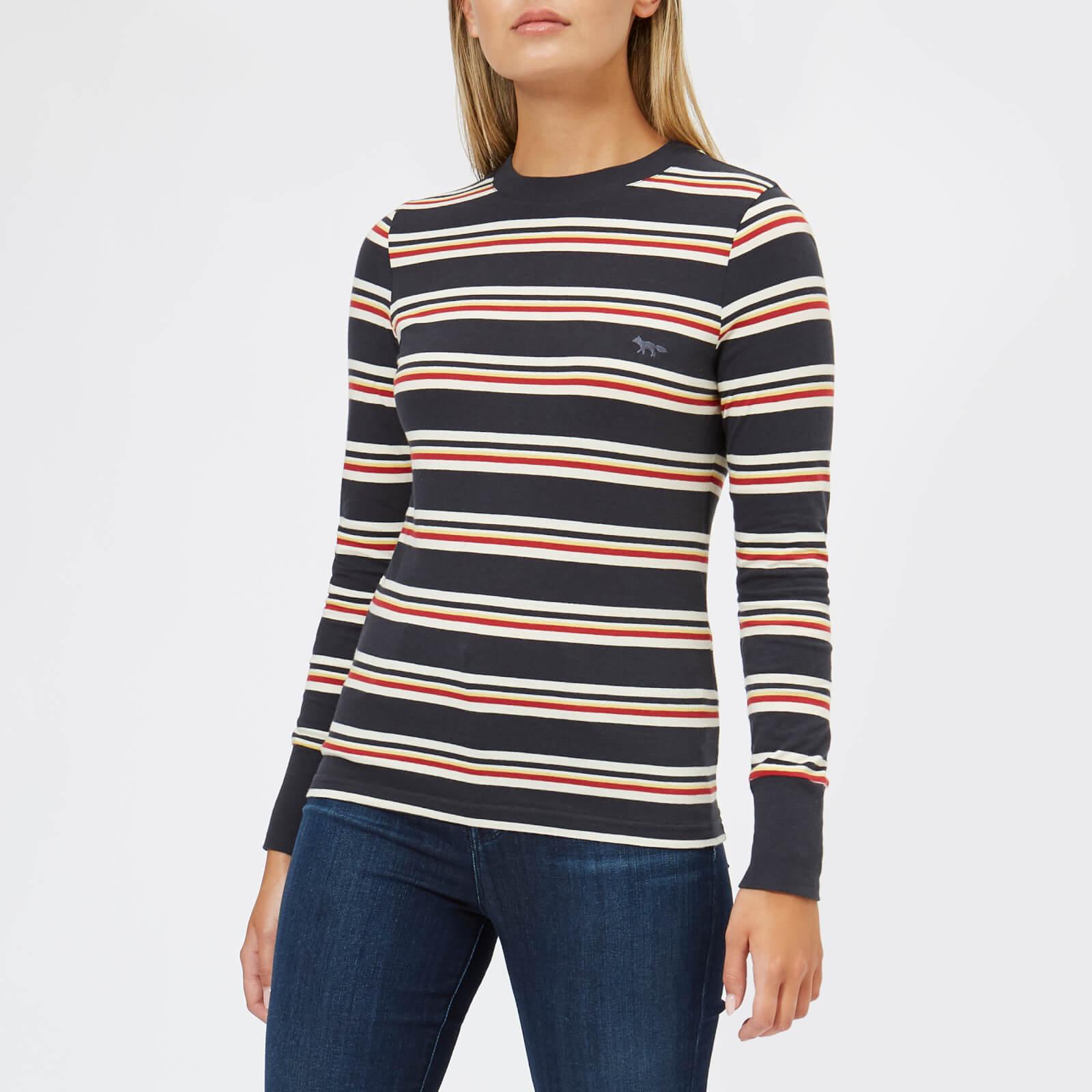 72b35731e2 Maison Kitsuné Women's Long Sleeve Stripes T-Shirt - Multicolor Stripes - Free  UK Delivery over £50