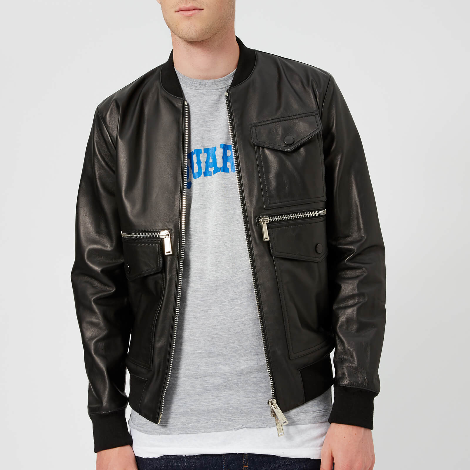 723e9df05a2 Dsquared2 Men s Lamb Leather Jacket - Black - Free UK Delivery over £50