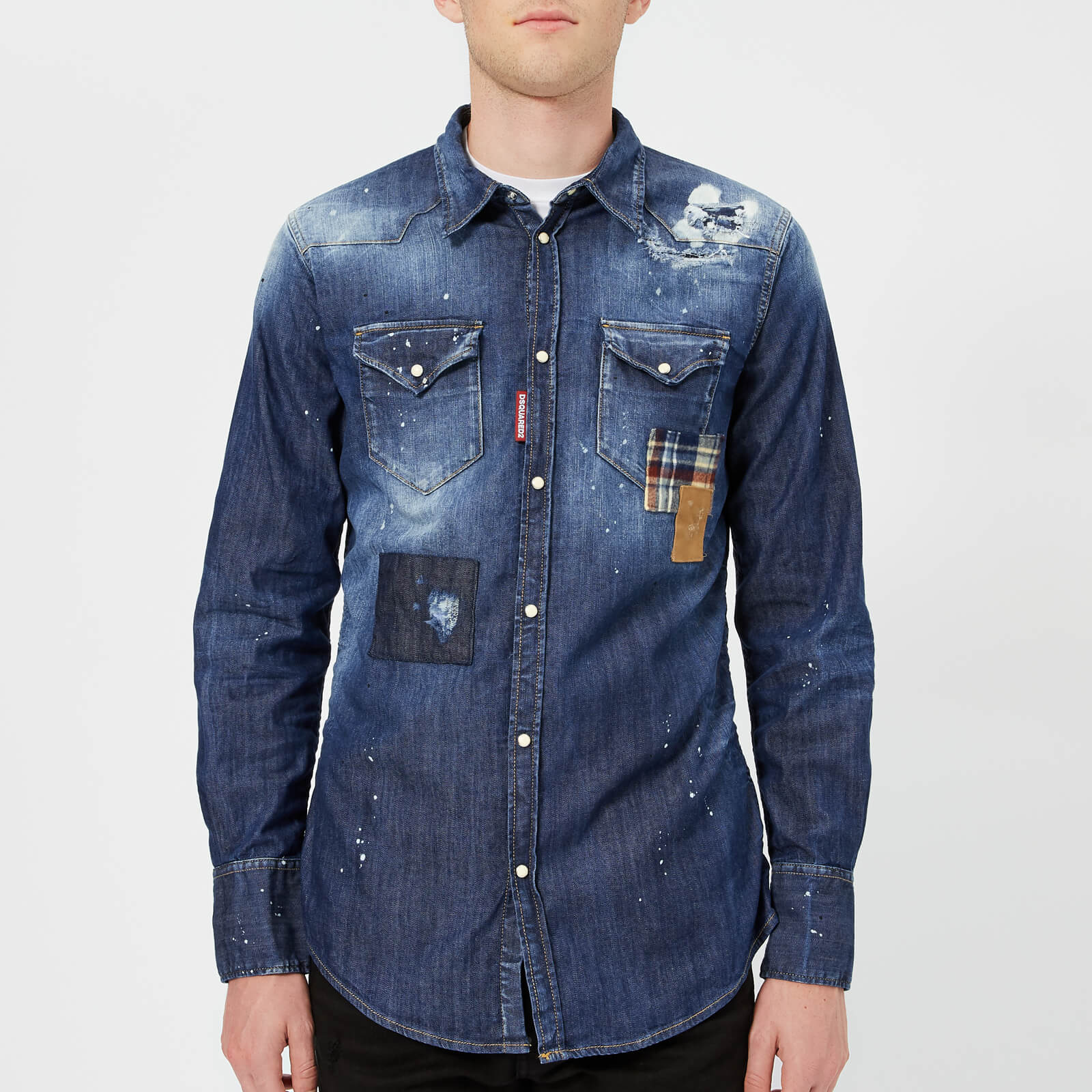 14e0f87260 Dsquared2 Men s Patch Bleached Light Wash Western Shirt - Blue - Free UK  Delivery over £50