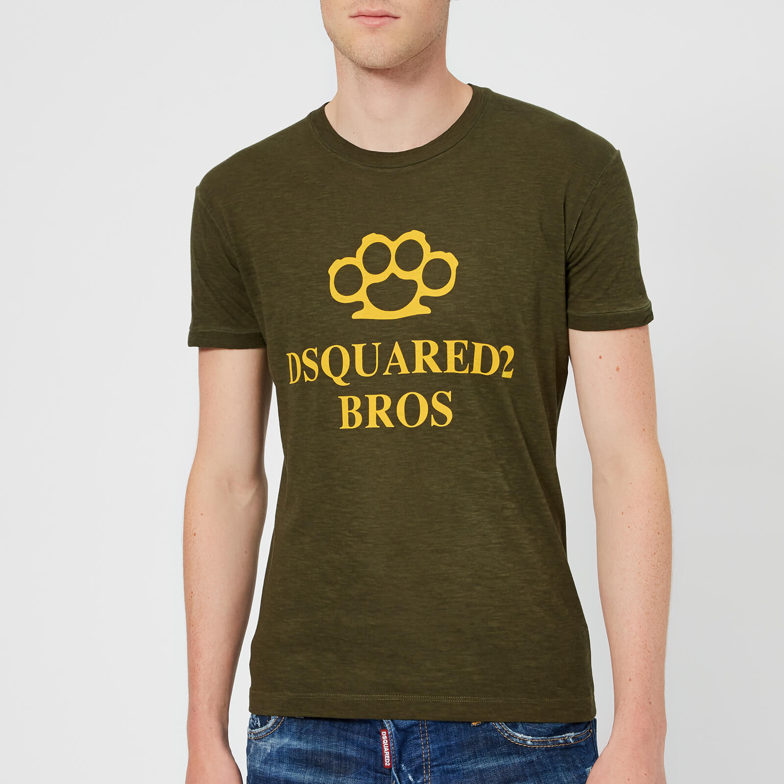 8e4214f0 Dsquared2 Men's Super Vintage Dyed Knuckle T-Shirt - Military Green - Free  UK Delivery over £50