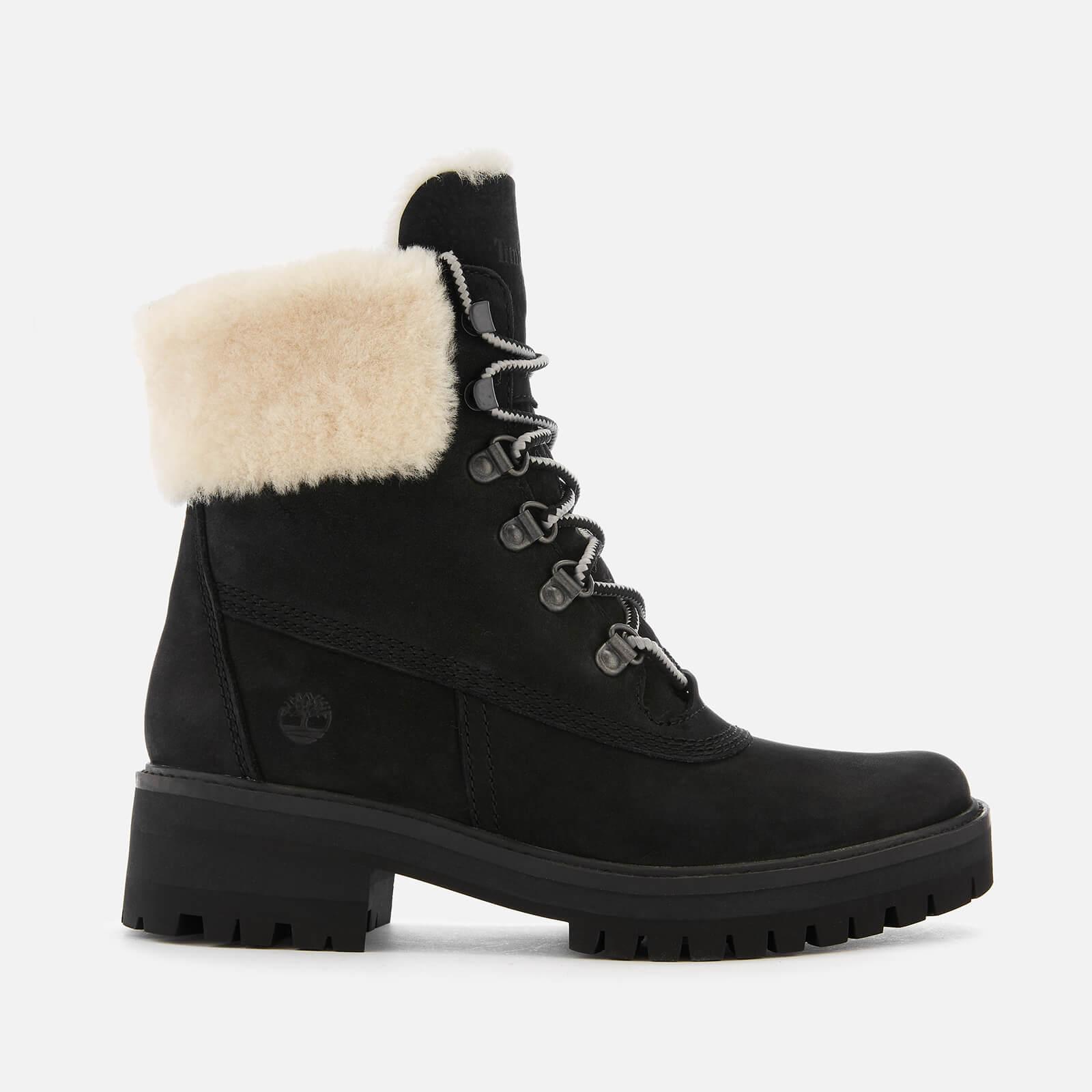 87f8c7283c5bda Timberland Women s Courmayeur Valley Shearling Lace Up Boots - Black Womens  Footwear