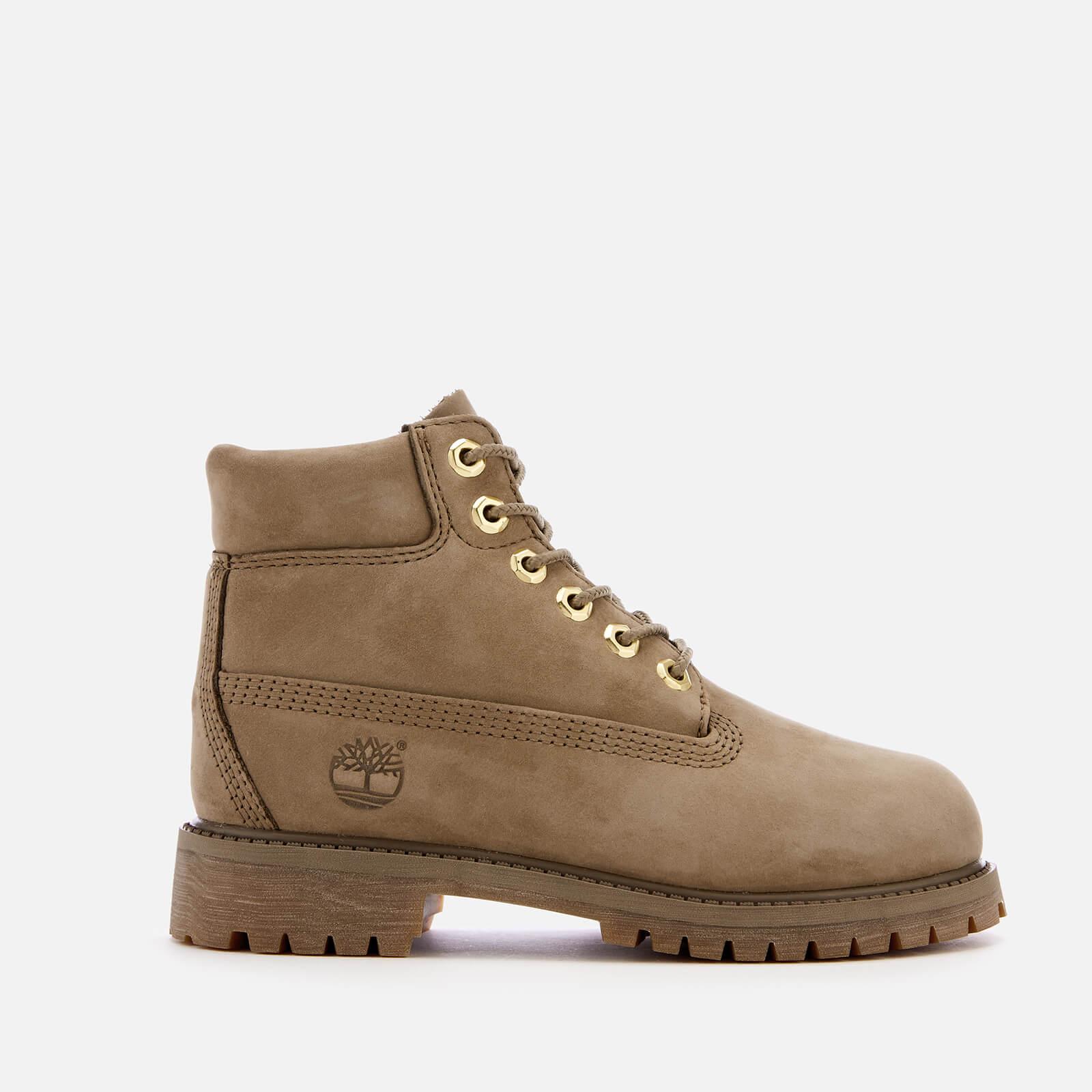 b7e86fb7796 Timberland Kids' 6 Inch Premium Waterproof Leather Boots - New Greige  Waterbuck Junior Clothing   TheHut.com