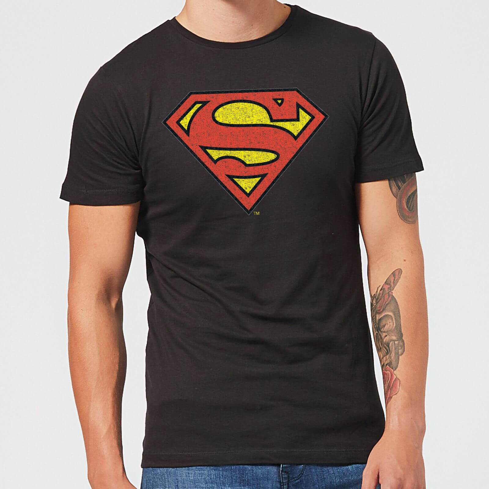 Official T Superman Shirt Herren Schwarz Logo Crackle Originals OXpqxwAw