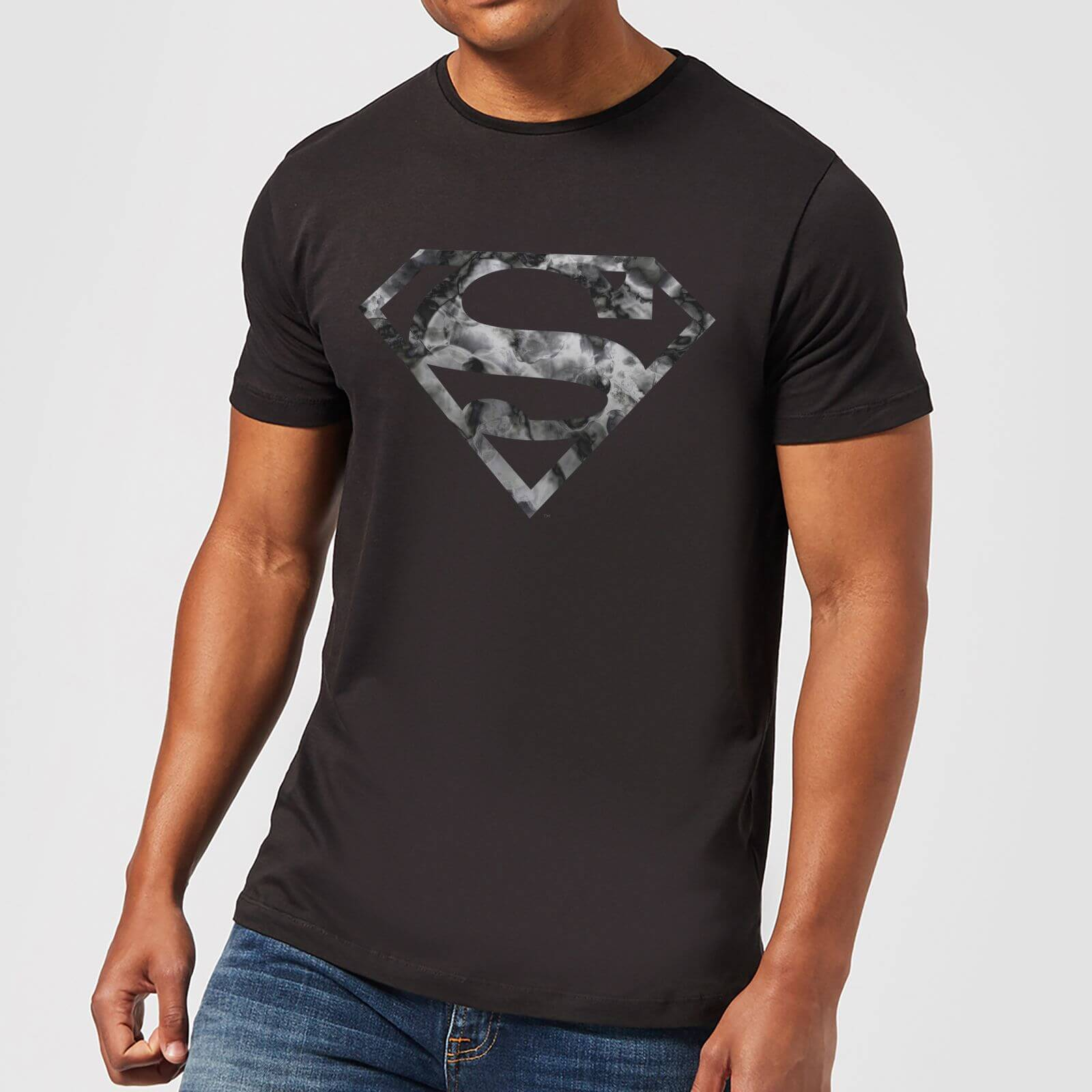 1cd9da43e59 DC Originals Marble Superman Logo Men s T-Shirt - Black Clothing