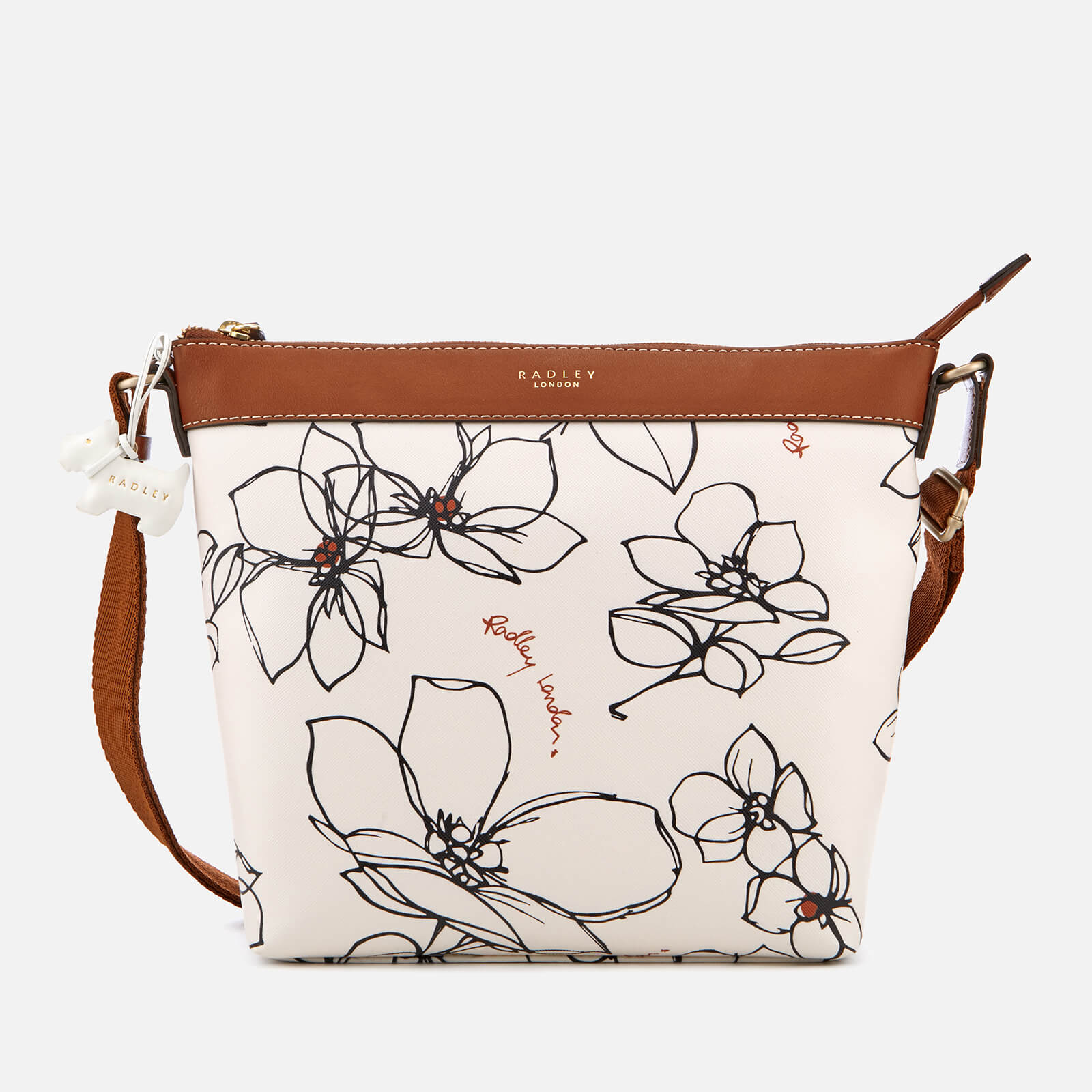 3a98579efd Radley Women's Linear Flower Medium Zip-Top Cross Body Bag - Chalk