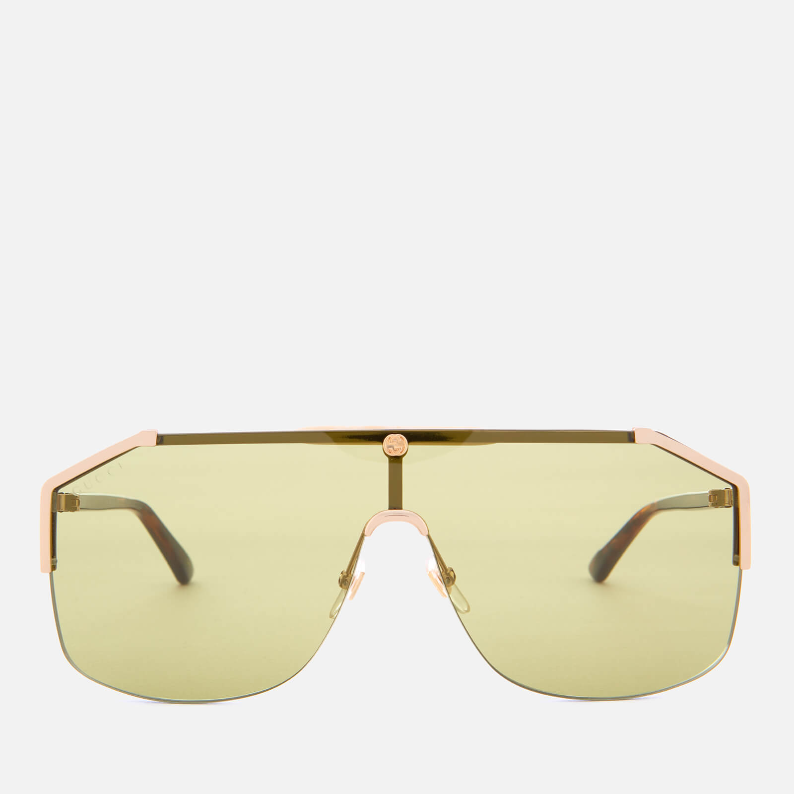 d69eb32cd60 Gucci Men s Metal Angle Sunglasses - Gold Havana - Free UK Delivery over £50