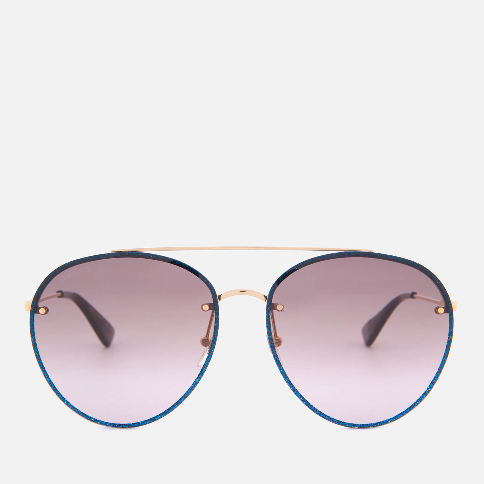da1b0aaf84 Gucci Women s Metal Frame Round Sunglasses - Gold Brown - Free UK Delivery  over £50
