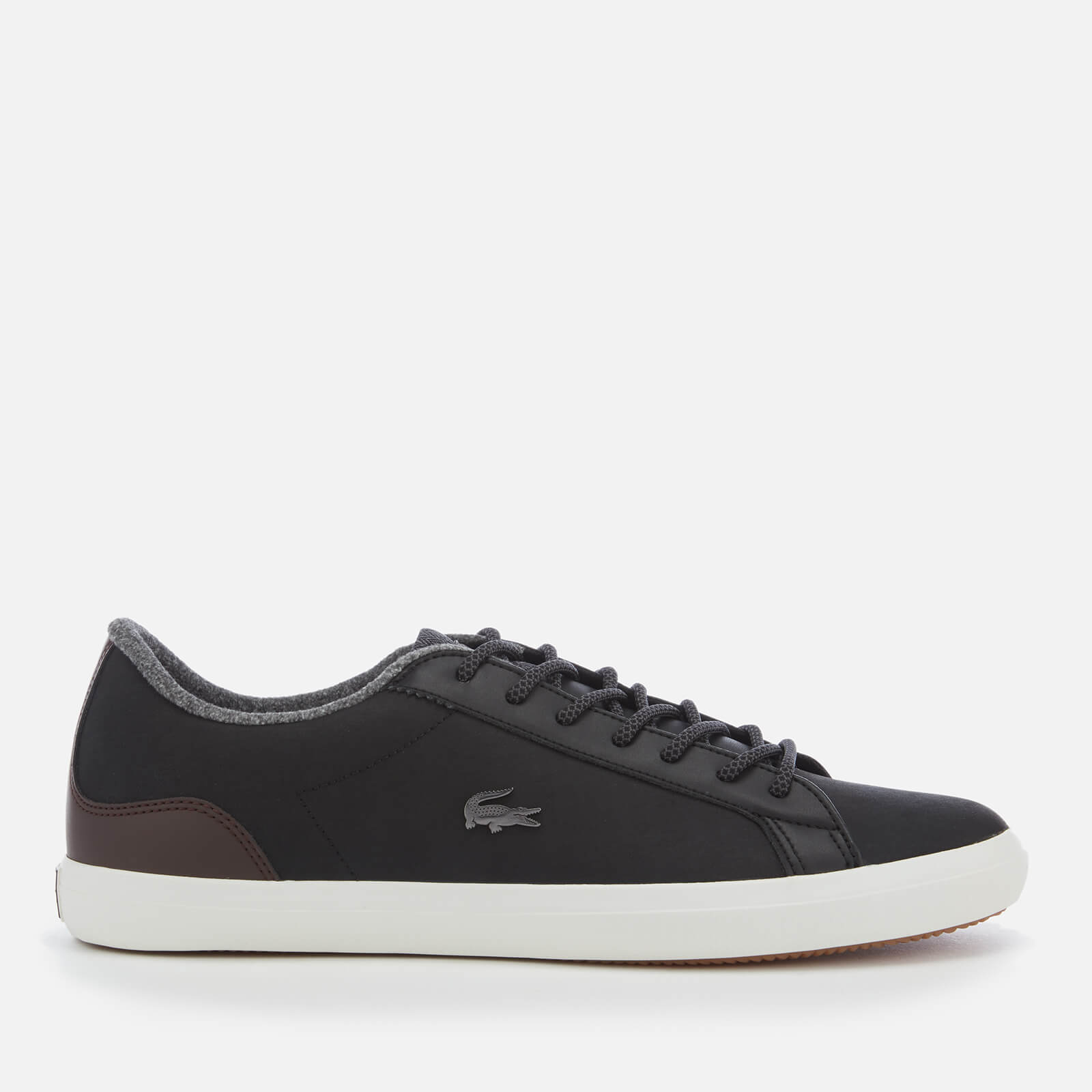 6263eaec6 Lacoste Men s Lerond 318 2 Water Resistant Leather Trainers - Black Brown -  Free UK Delivery over £50