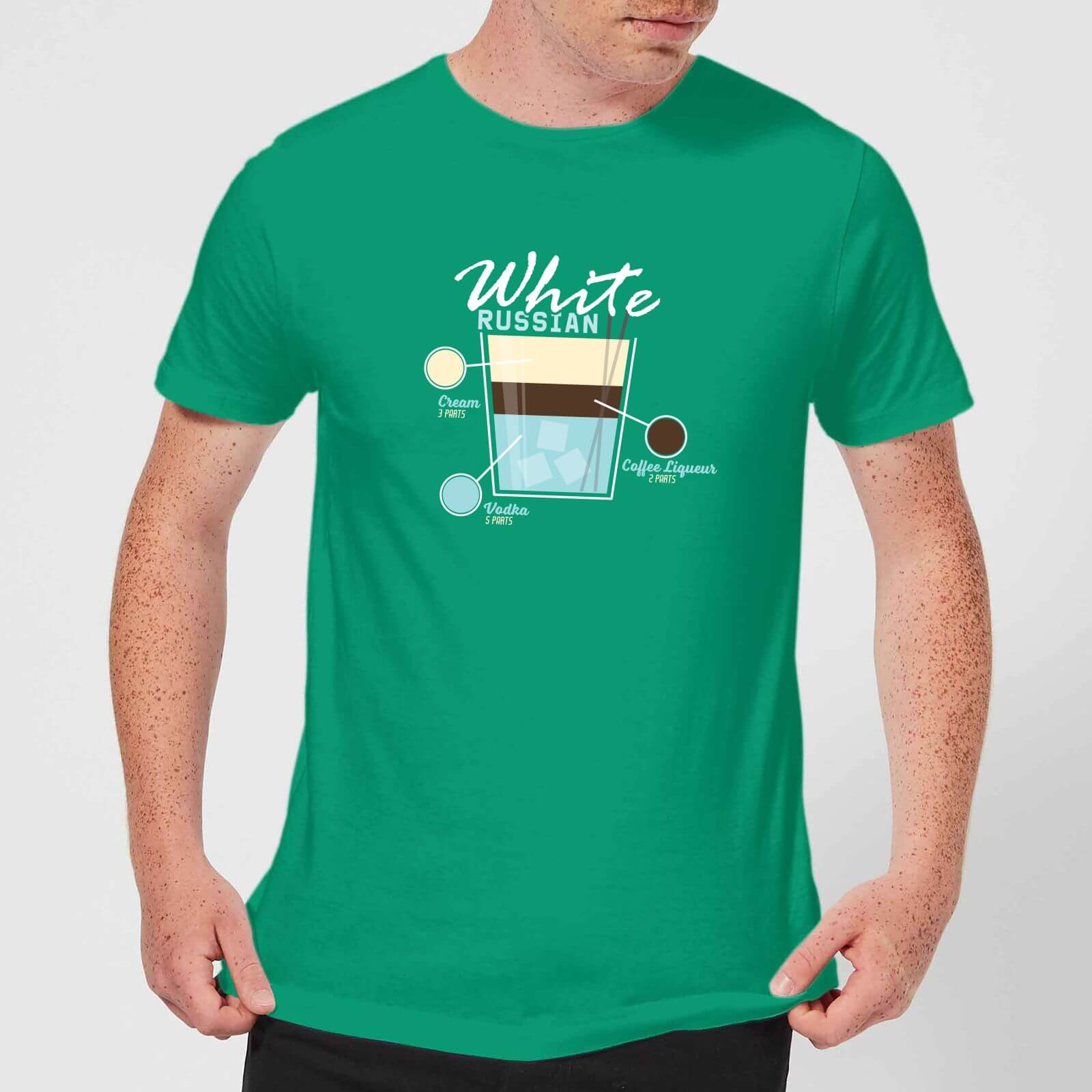 1b8ecdf9a Infographic White Russian Men's T-Shirt - Kelly Green | IWOOT