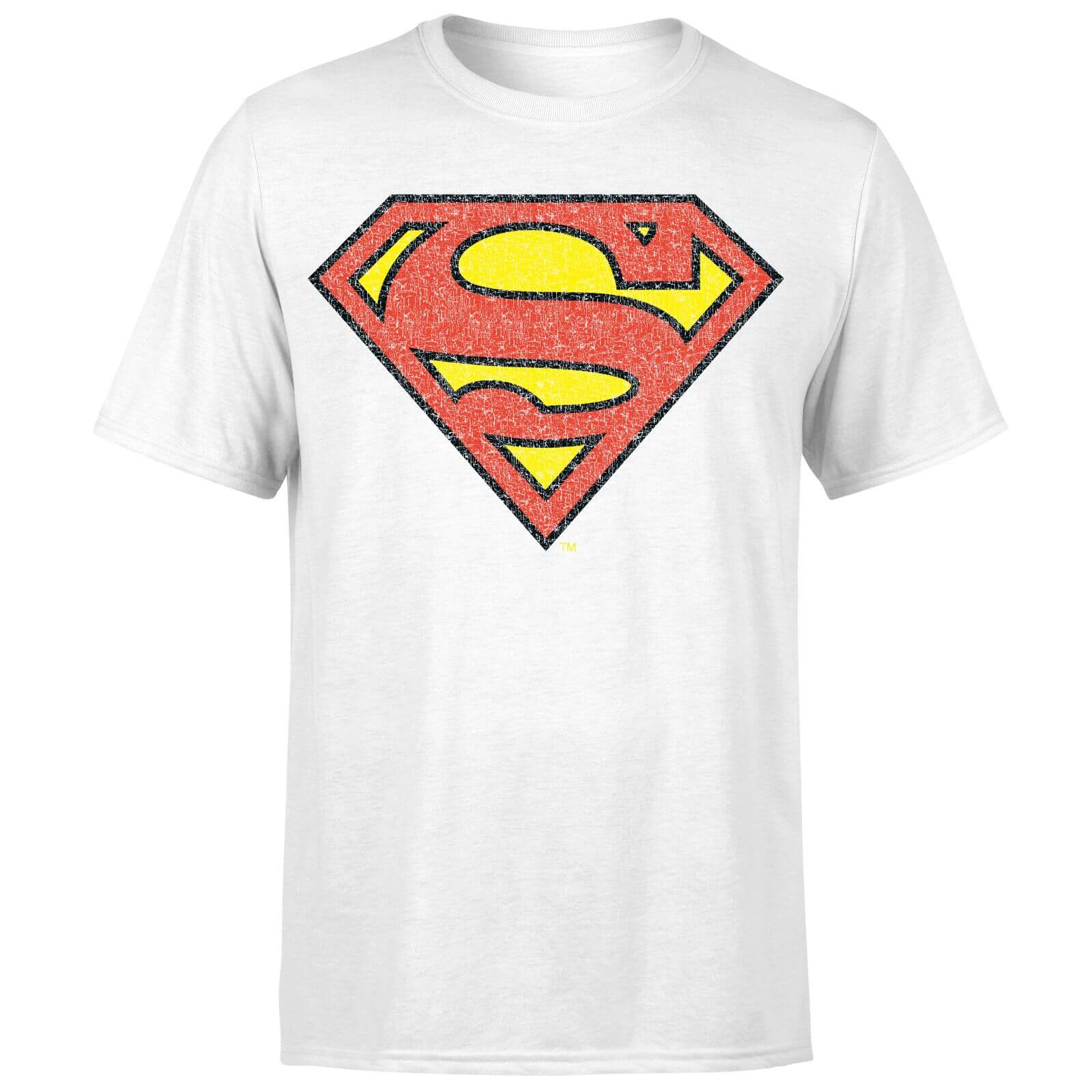 ec677caf92 Camiseta DC Comics Superman Logo Craquelado - Hombre - Blanco Clothing    Zavvi España