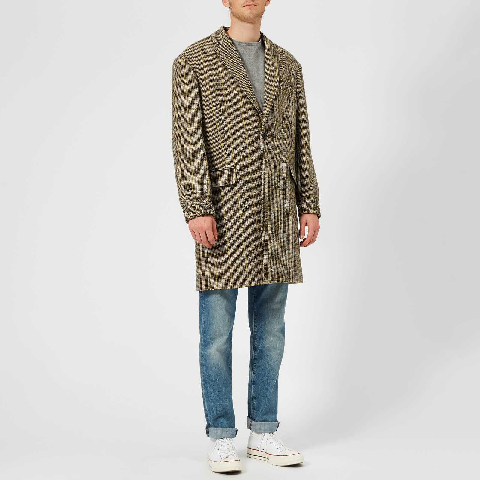 Kenzo Men S One Button Long Coat Pale Camel Free Uk Delivery