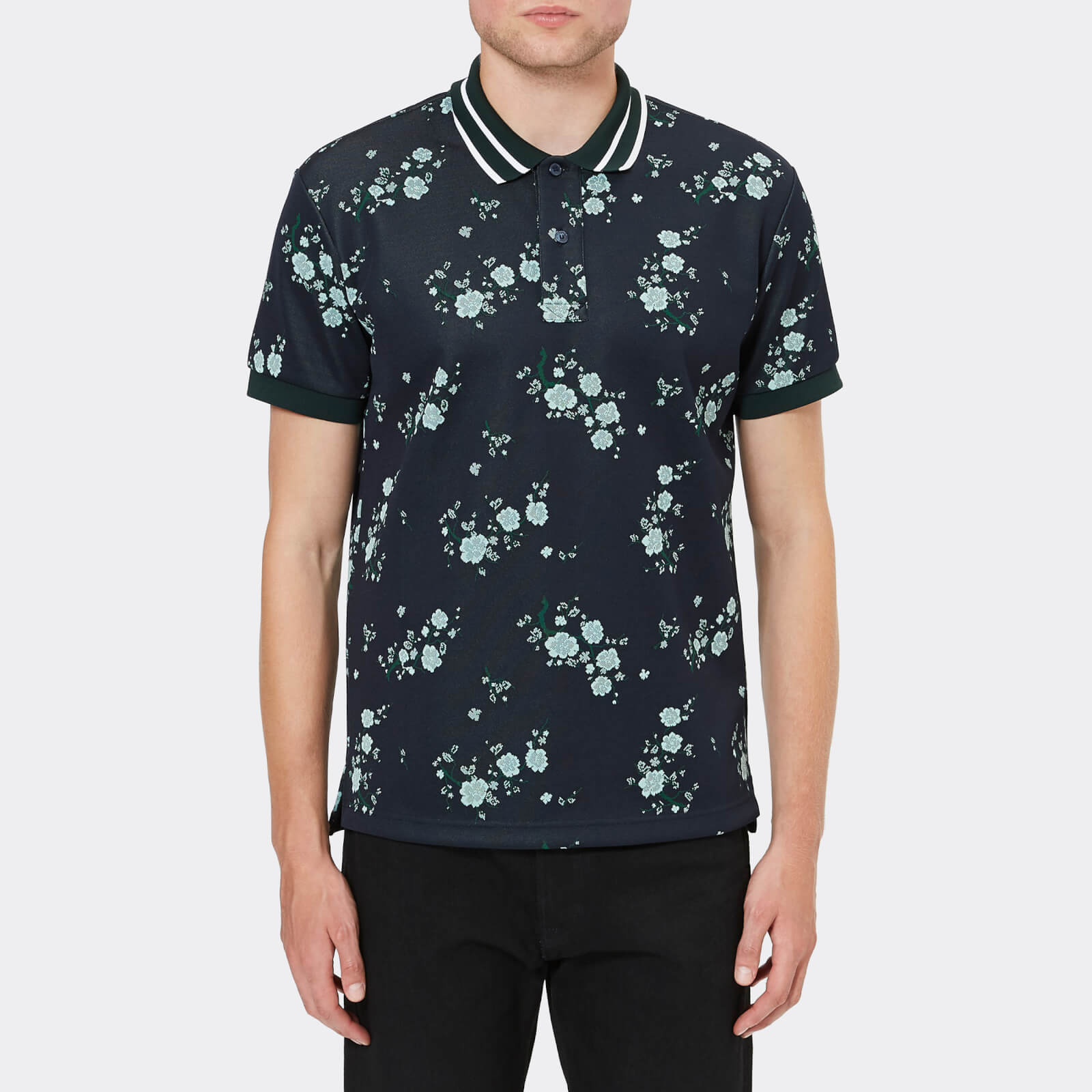 b64854e746 KENZO Men's Floral Polo Shirt - Navy Blue