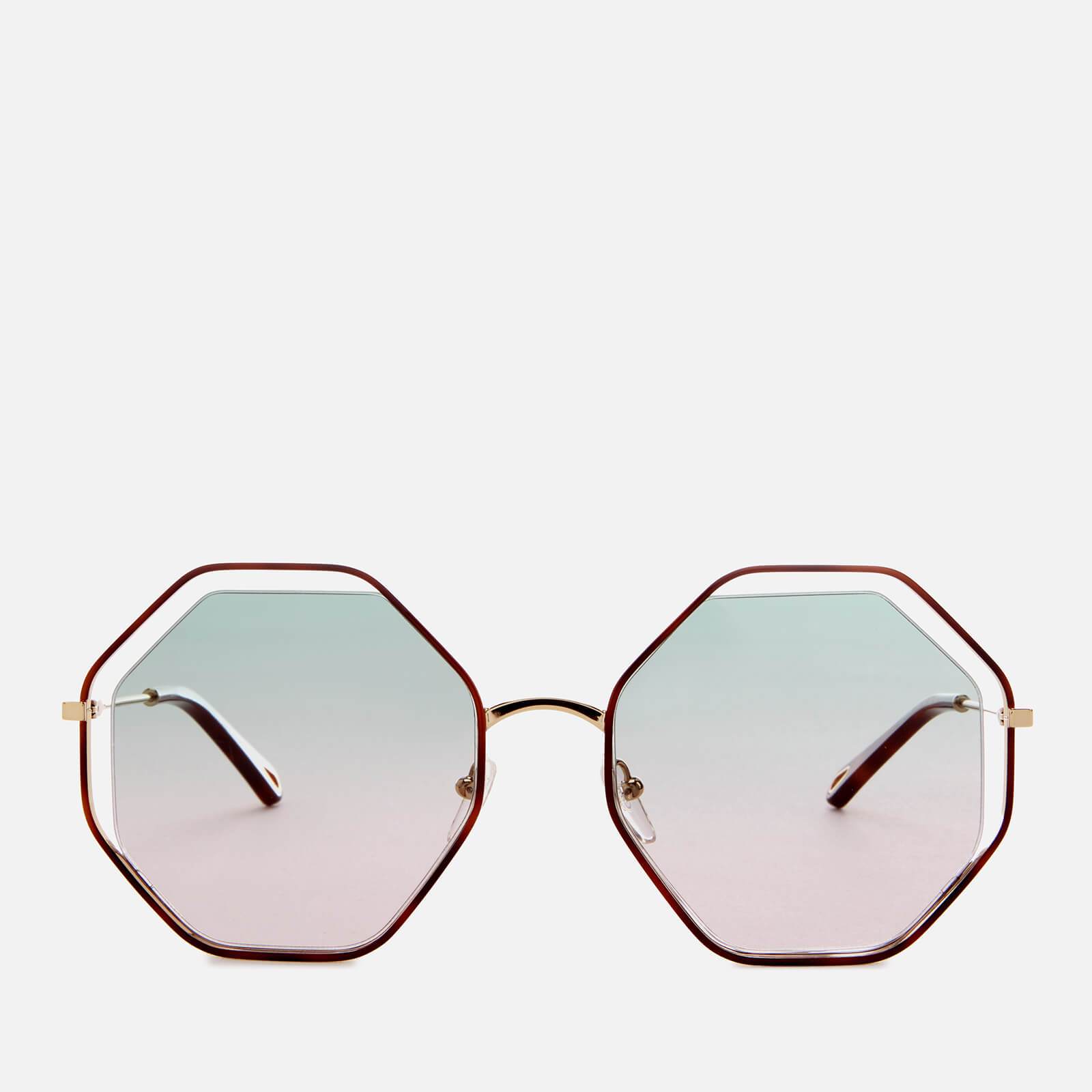 80e46c7175 Chloe Women s Poppy Octagon Frame Sunglasses - Havana Green Rose - Free UK  Delivery over £50