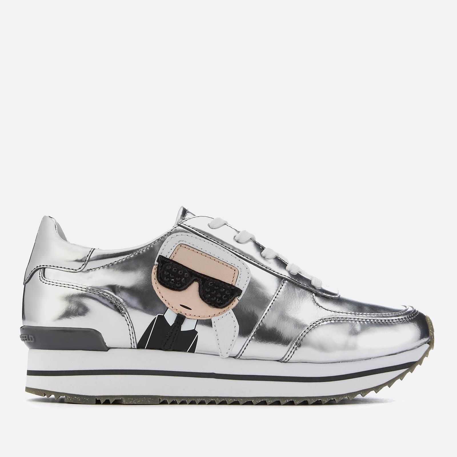 25275b42c300 Karl Lagerfeld Women s Velocita II Leather Karl Ikonic Meteor Lace Runner  Trainers - Dark Silver Mirror Womens Footwear