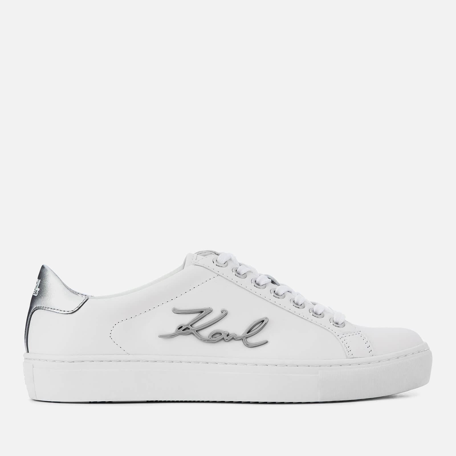 76909dab9c4 Karl Lagerfeld Women s Kupsole Signia Leather Low Top Trainers - White  Womens Footwear