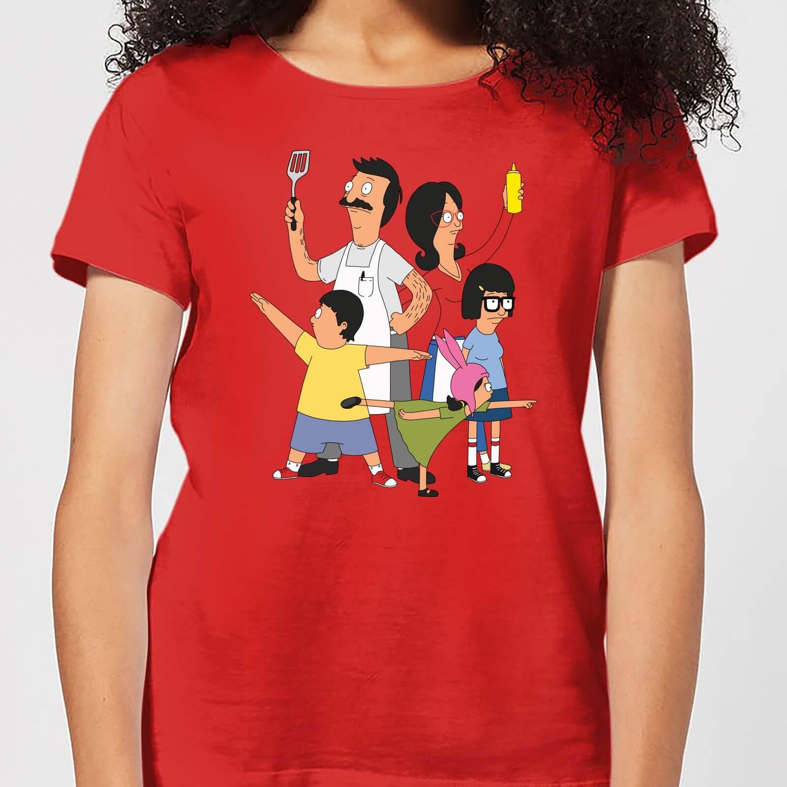 bd96e1c3b Bobs Burgers Family Pose Women's T-Shirt - Red Clothing | Zavvi